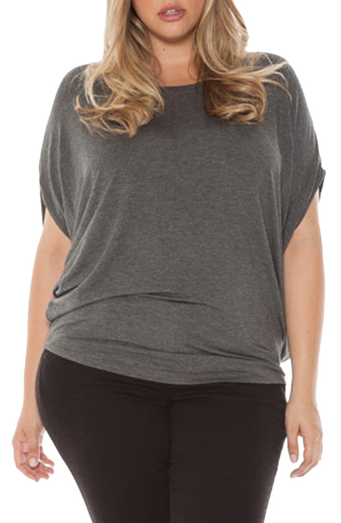 SLINK Jeans Drape Side Jersey Tee (Plus Size)