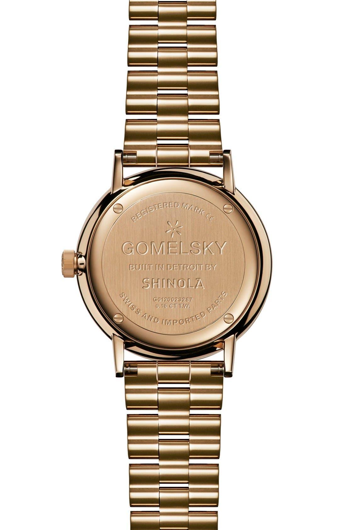 The Agnes Varis Diamond Bracelet Watch, 32mm,                             Alternate thumbnail 2, color,                             Gold/ Mother Of Pearl