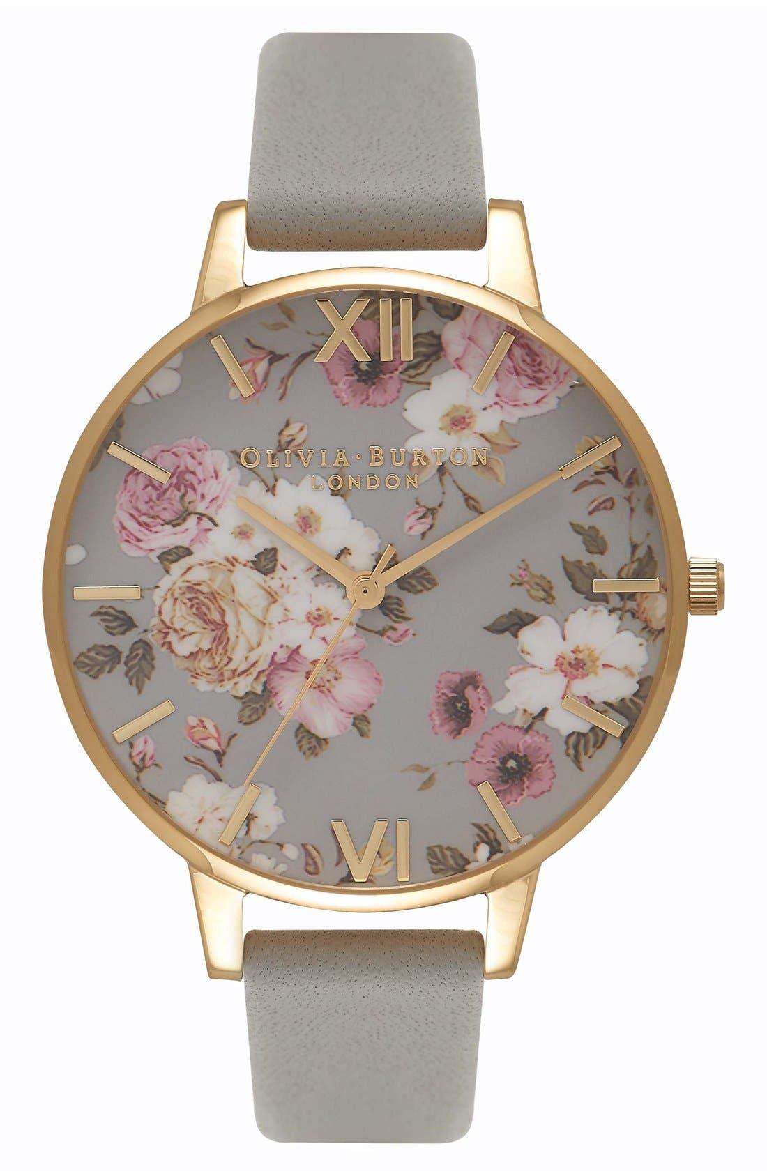 Main Image - Olivia Burton Flower Show Leather Strap Watch, 38mm