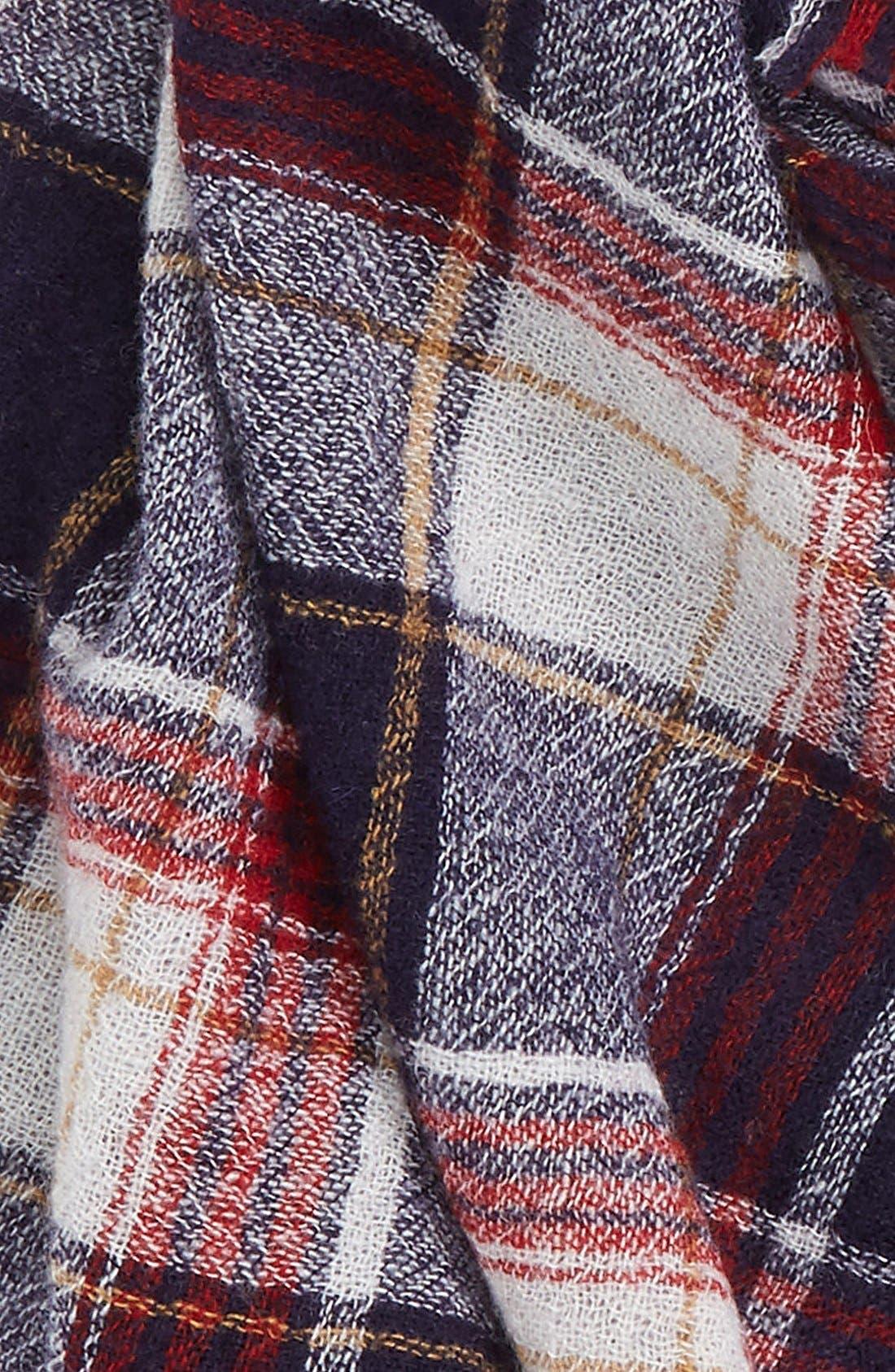 'Range' Plaid Wool Scarf,                             Alternate thumbnail 3, color,                             Dark Midnight