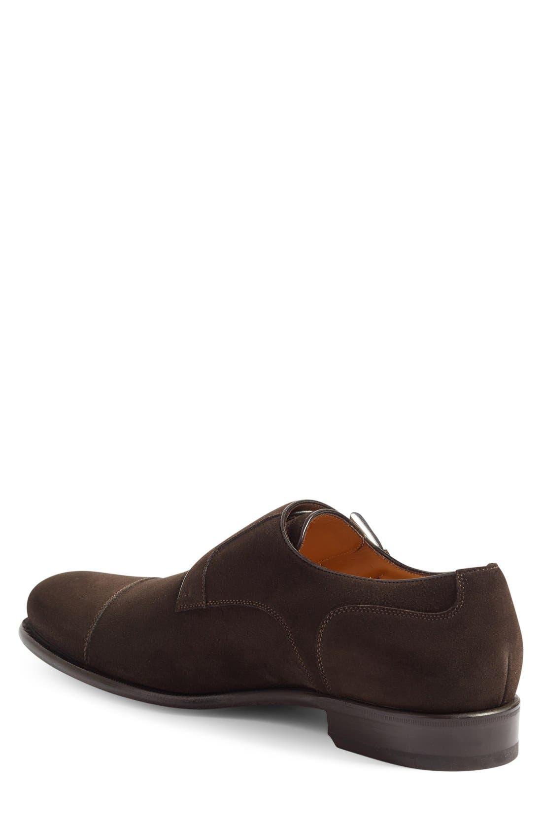 Double Monk Strap Shoe,                             Alternate thumbnail 3, color,                             Dark Brown Suede