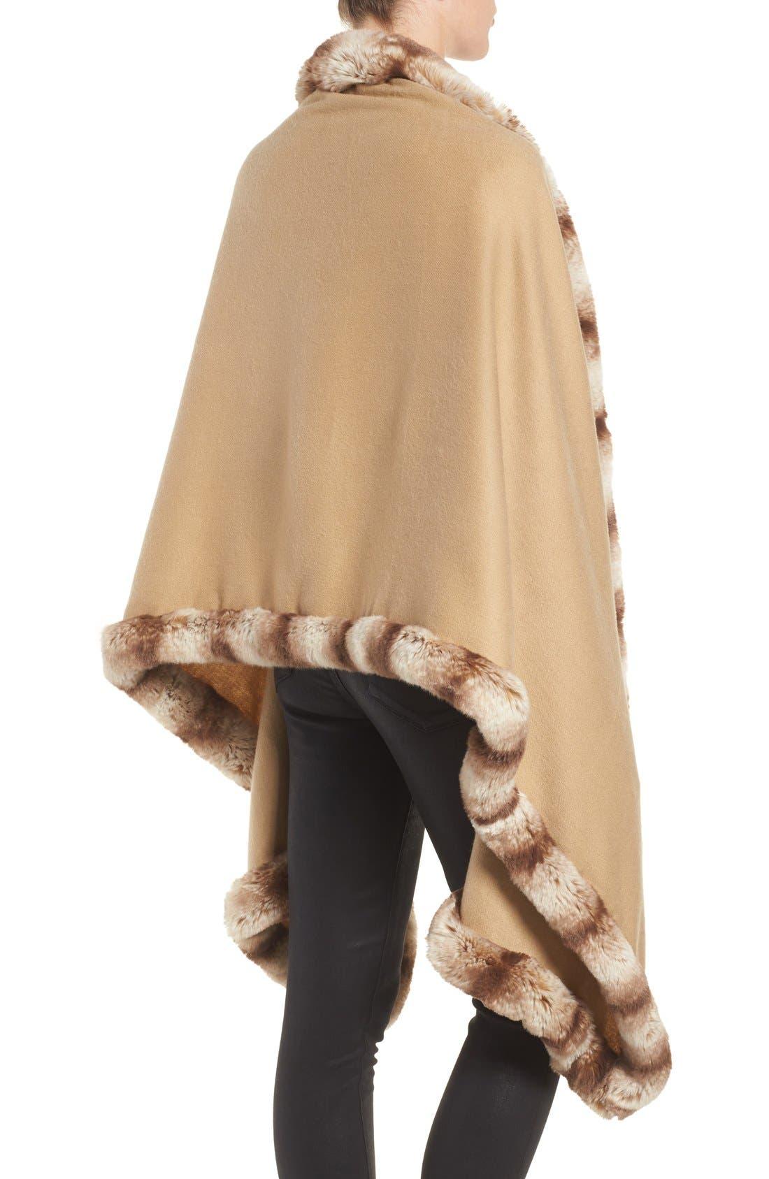 Alternate Image 2  - Badgley Mischka Faux Fur Trim Wrap