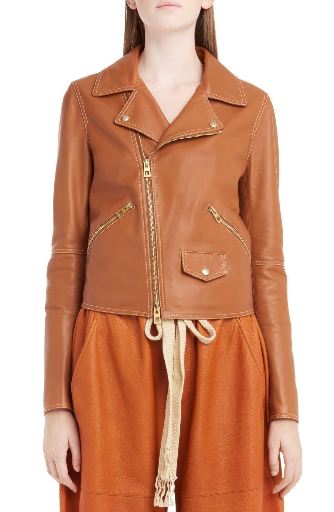 Nappa Leather Biker Jacket,                         Main,                         color, Tan