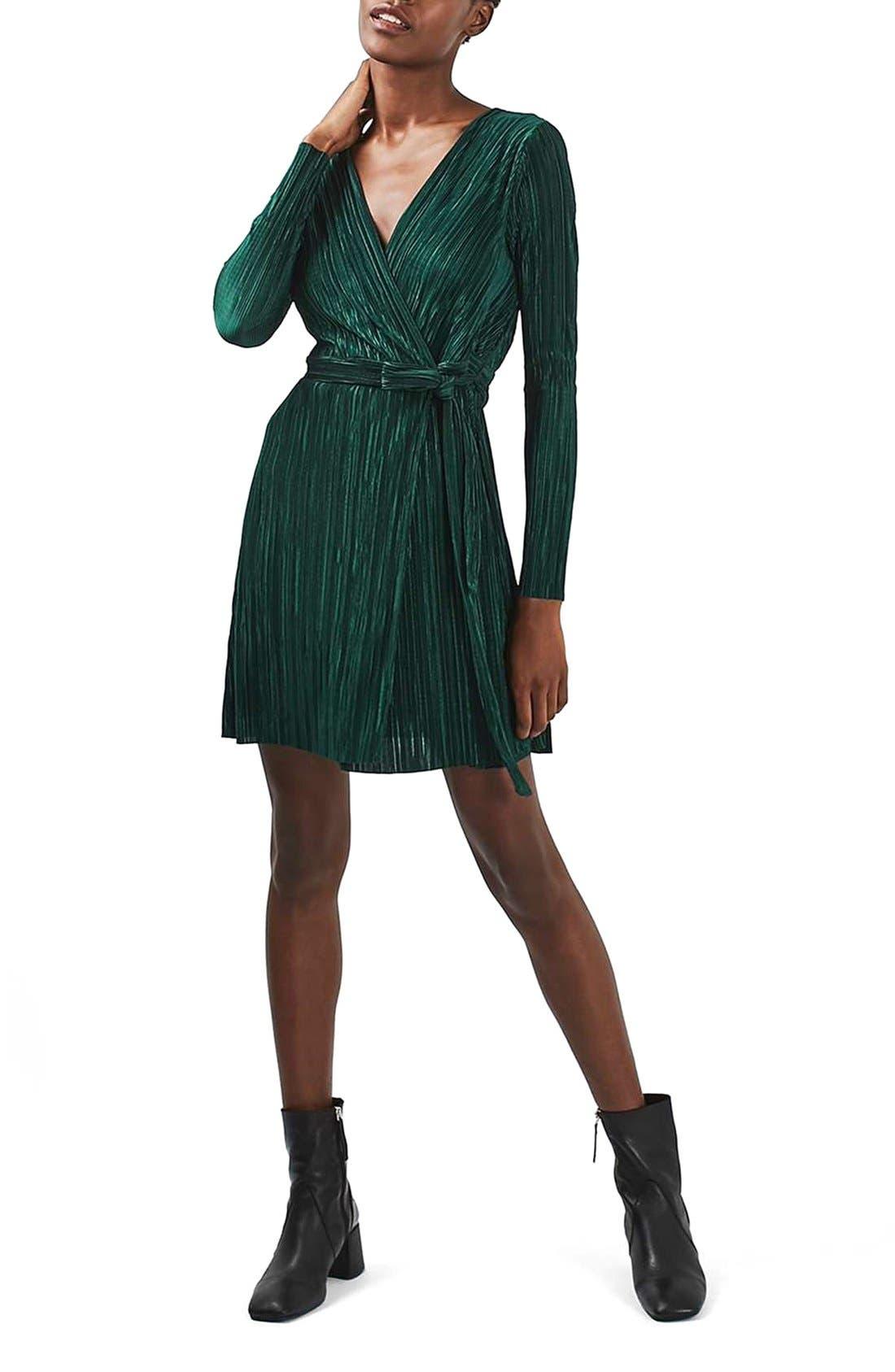 Main Image - Topshop Plissé Wrap Minidress (Regular & Petite)