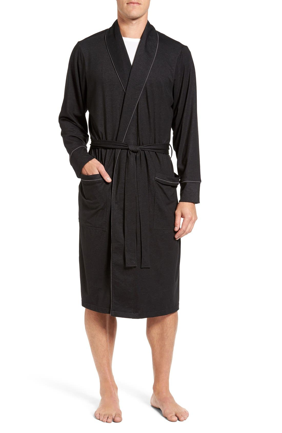 Cotton Blend Robe,                         Main,                         color, Black/ Charcoal
