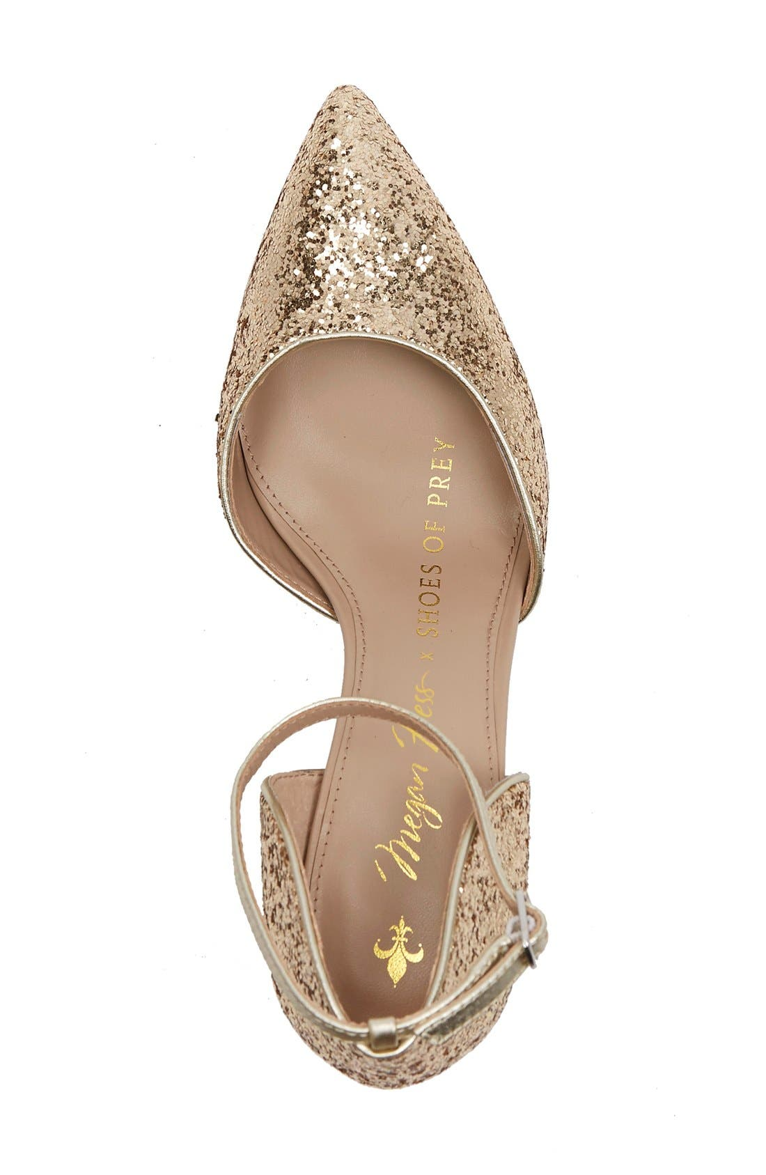 x Megan Hess Fleur-de-lis Collection Pump,                             Alternate thumbnail 3, color,                             Gold Sparkle