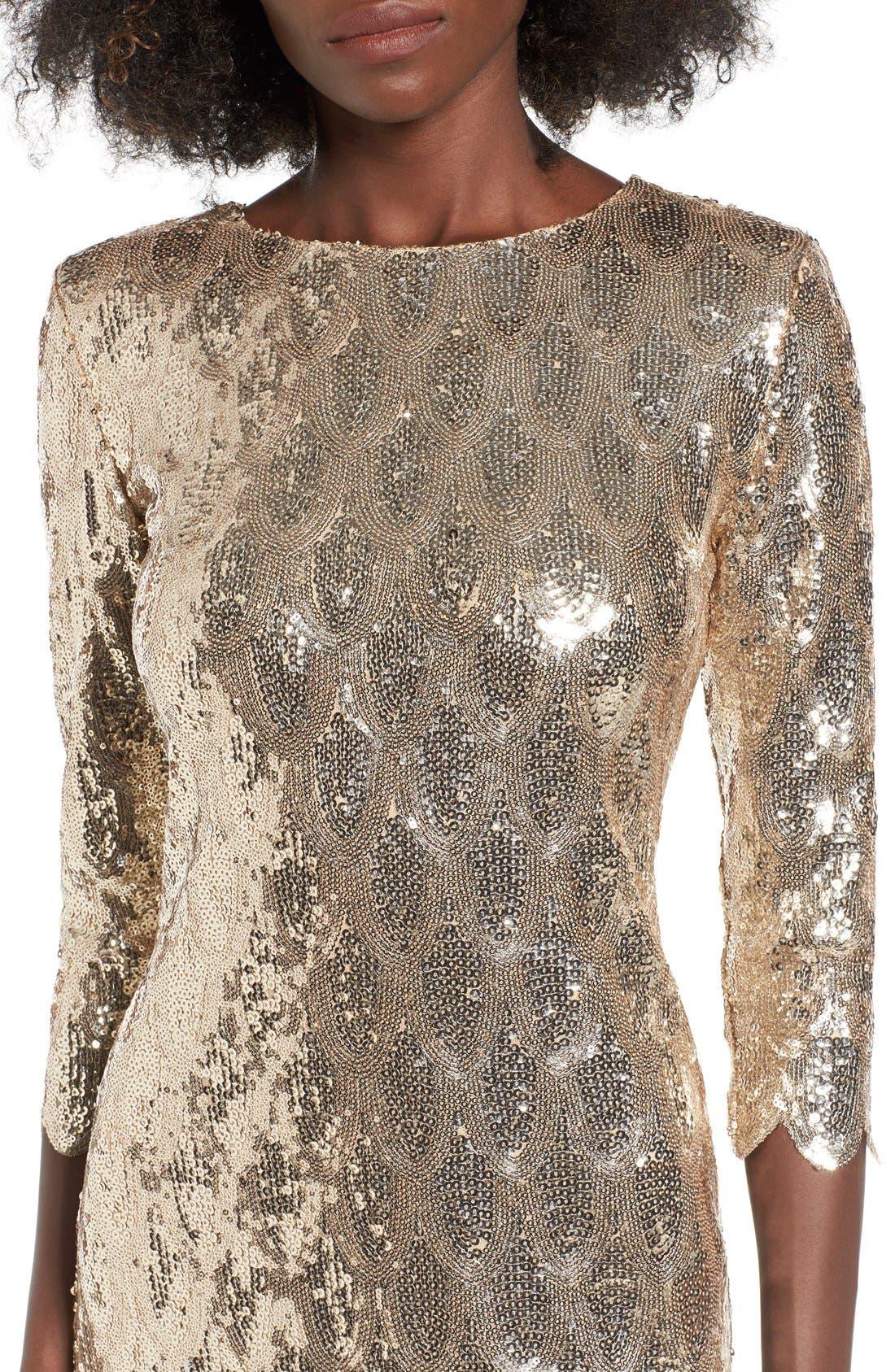 Alternate Image 4  - TFNC Paris Scallop Hem Sequin Dress