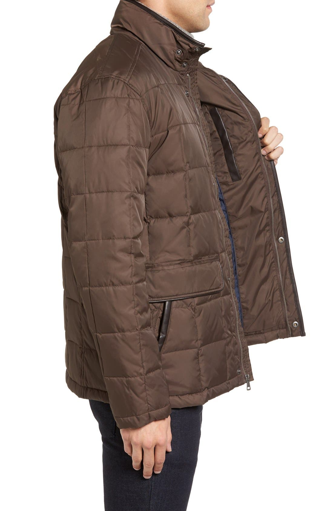 Box Quilted Jacket,                             Alternate thumbnail 3, color,                             Wren