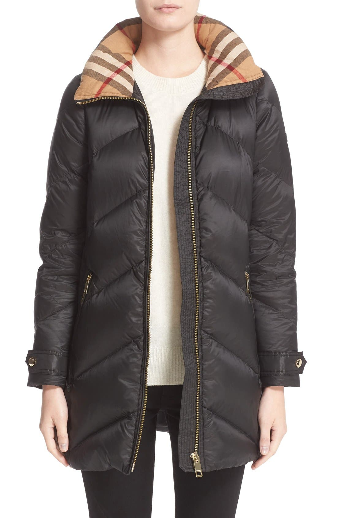 Eastwick Chevron Quilted Coat,                         Main,                         color, Black