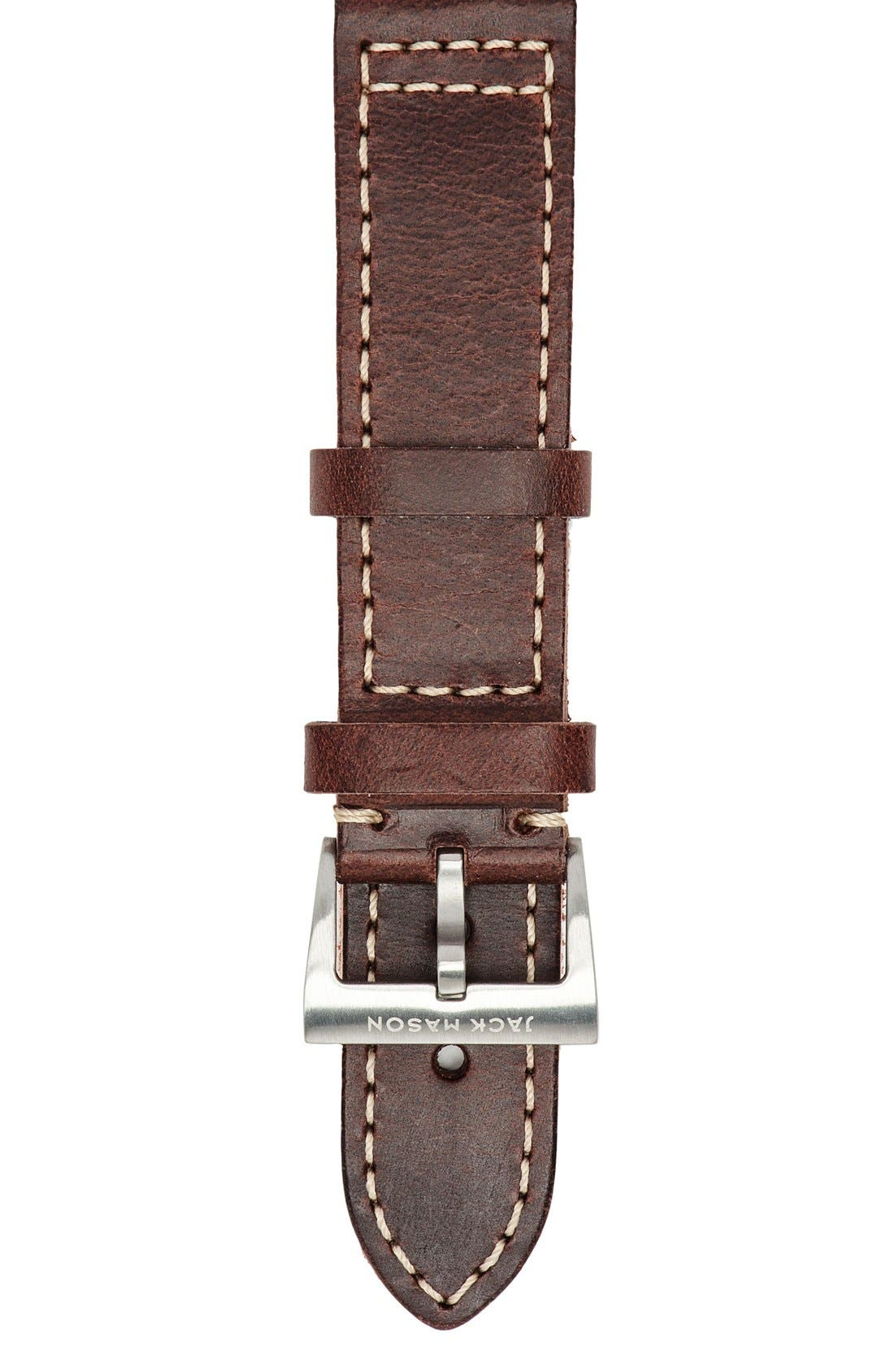 Leather Watch Strap, 22mm,                         Main,                         color, Brown