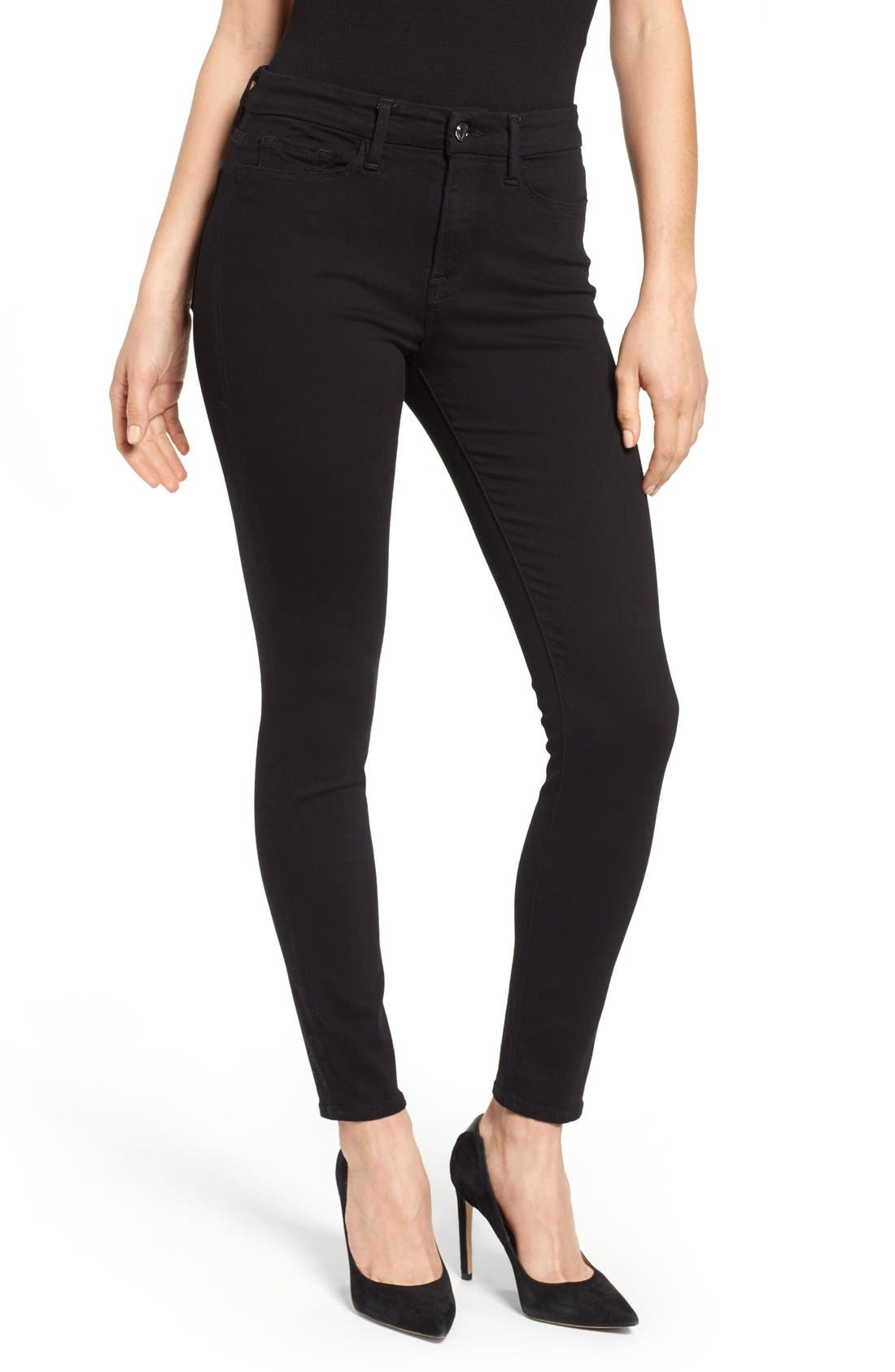 Alternate Image 1 Selected - Good American Good Legs High Rise Skinny Jeans (Black 001)