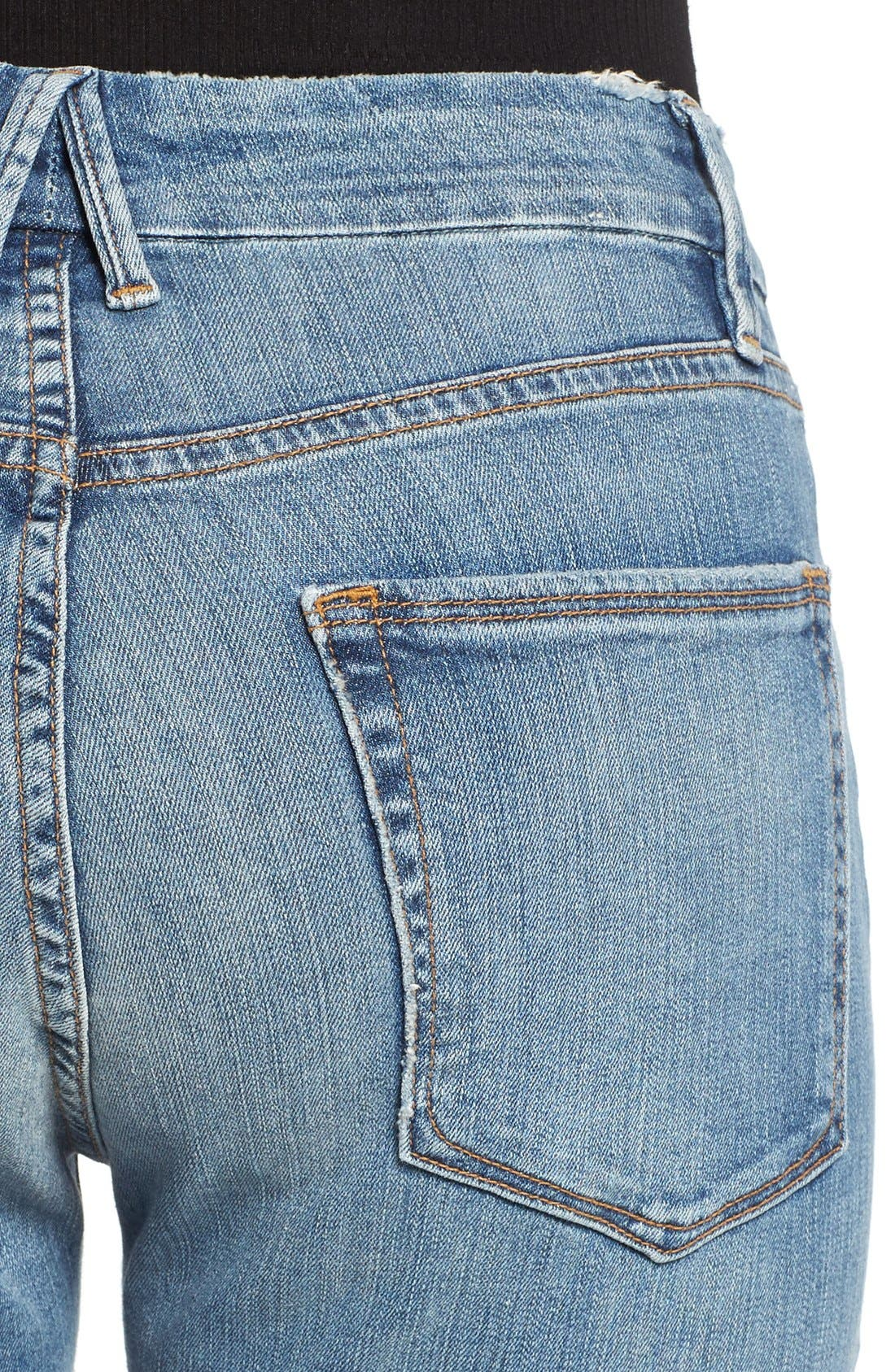Alternate Image 4  - Good American Good Cuts High Rise Boyfriend Jeans (Blue 012) (Extended Sizes)