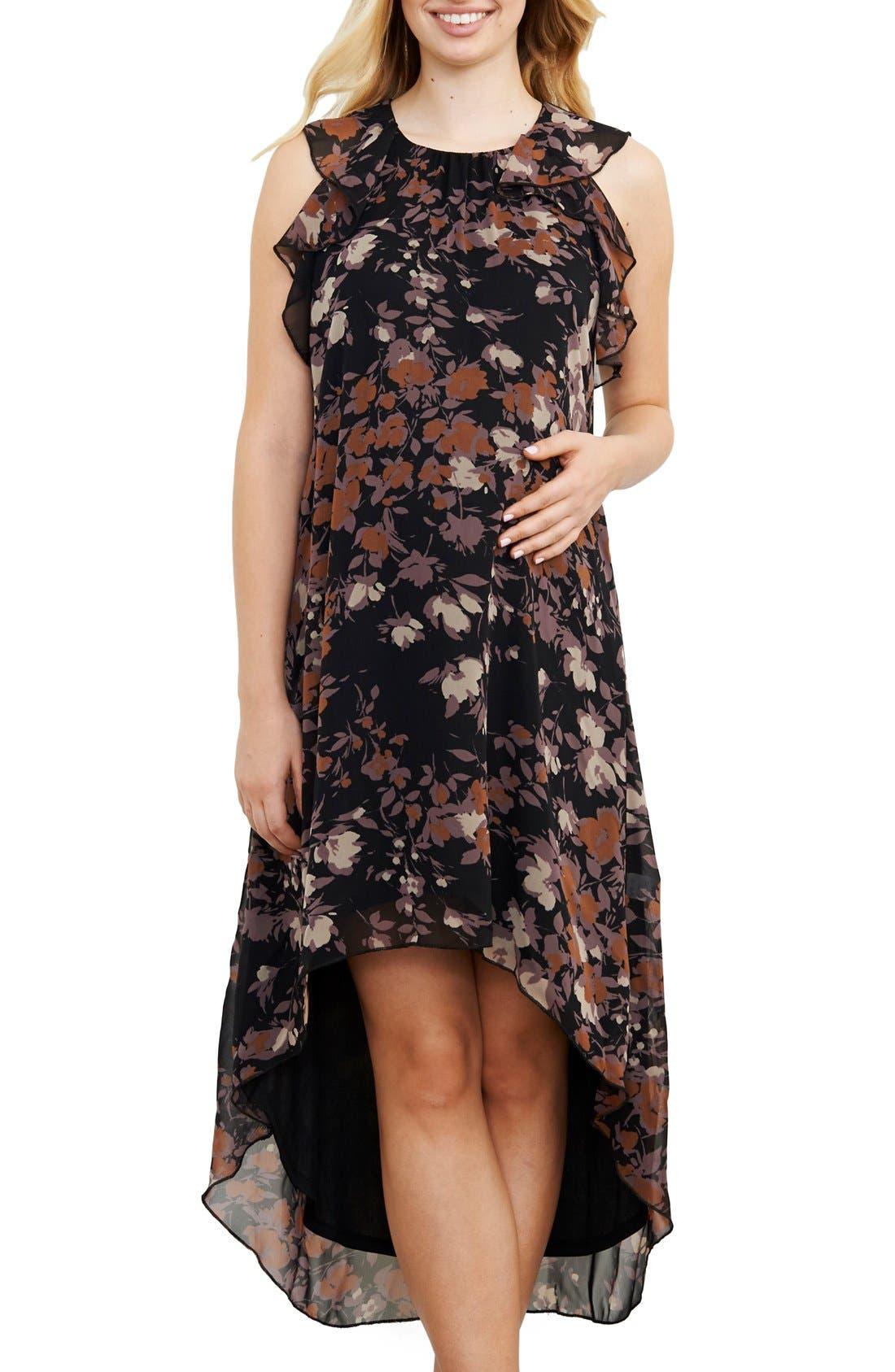 Ruffle Maternity Dress,                         Main,                         color, Lilac Floral Print