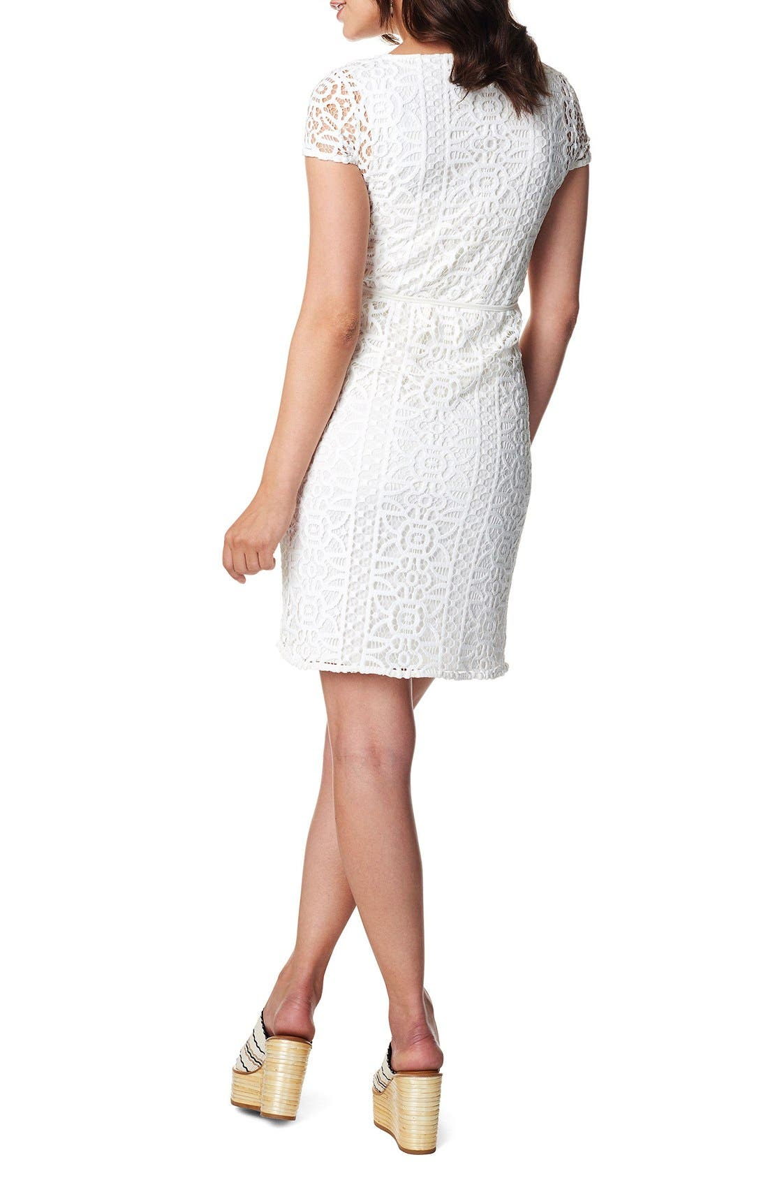 Elise Woven Lace Maternity Dress,                             Alternate thumbnail 2, color,                             Off White