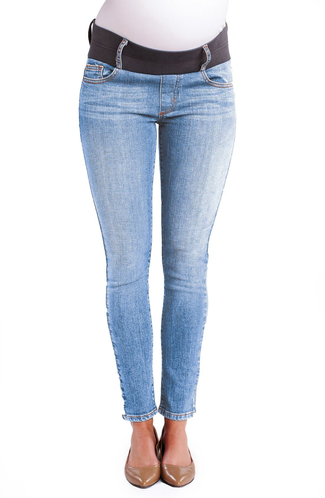 Maternity Ankle Skinny Jeans,                             Main thumbnail 1, color,                             Light Wash