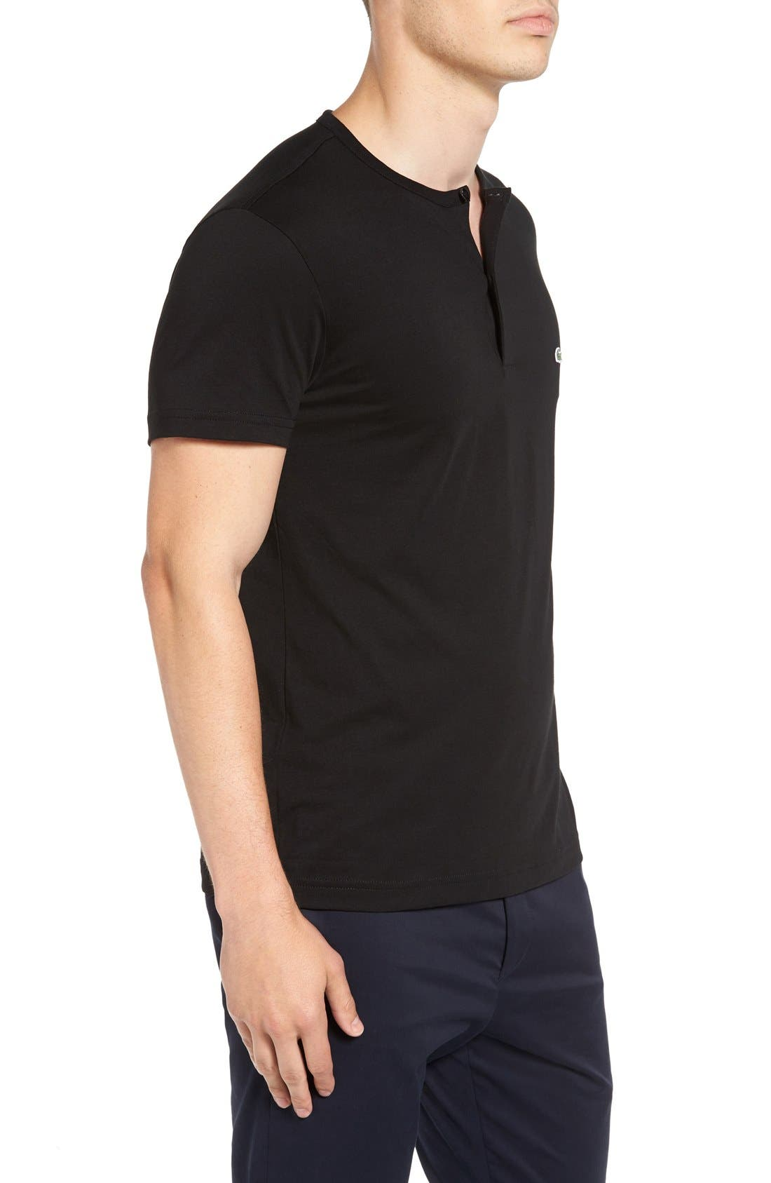 Henley T-Shirt,                             Alternate thumbnail 3, color,                             Black
