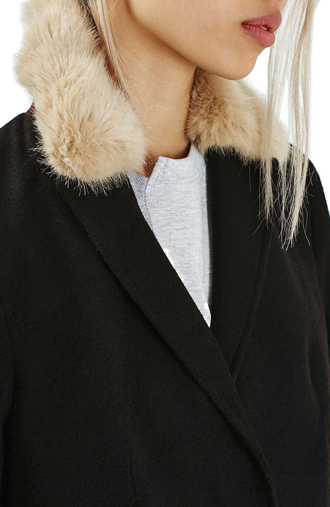 Alternate Image 5  - Topshop Faux Fur Collar Coat