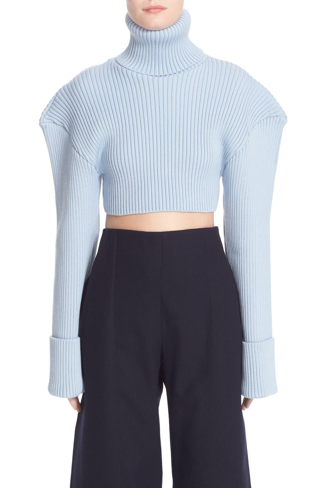 Alternate Image 1 Selected - Jacquemus Cropped Football Shoulder Turtleneck Sweater