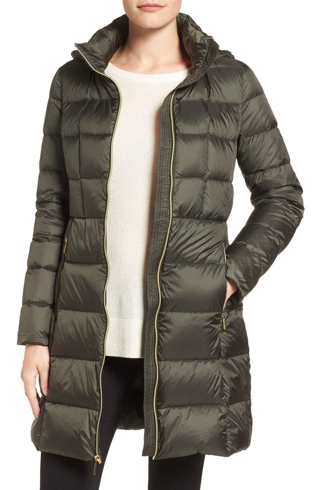 Packable Down Coat,                         Main,                         color, Olive