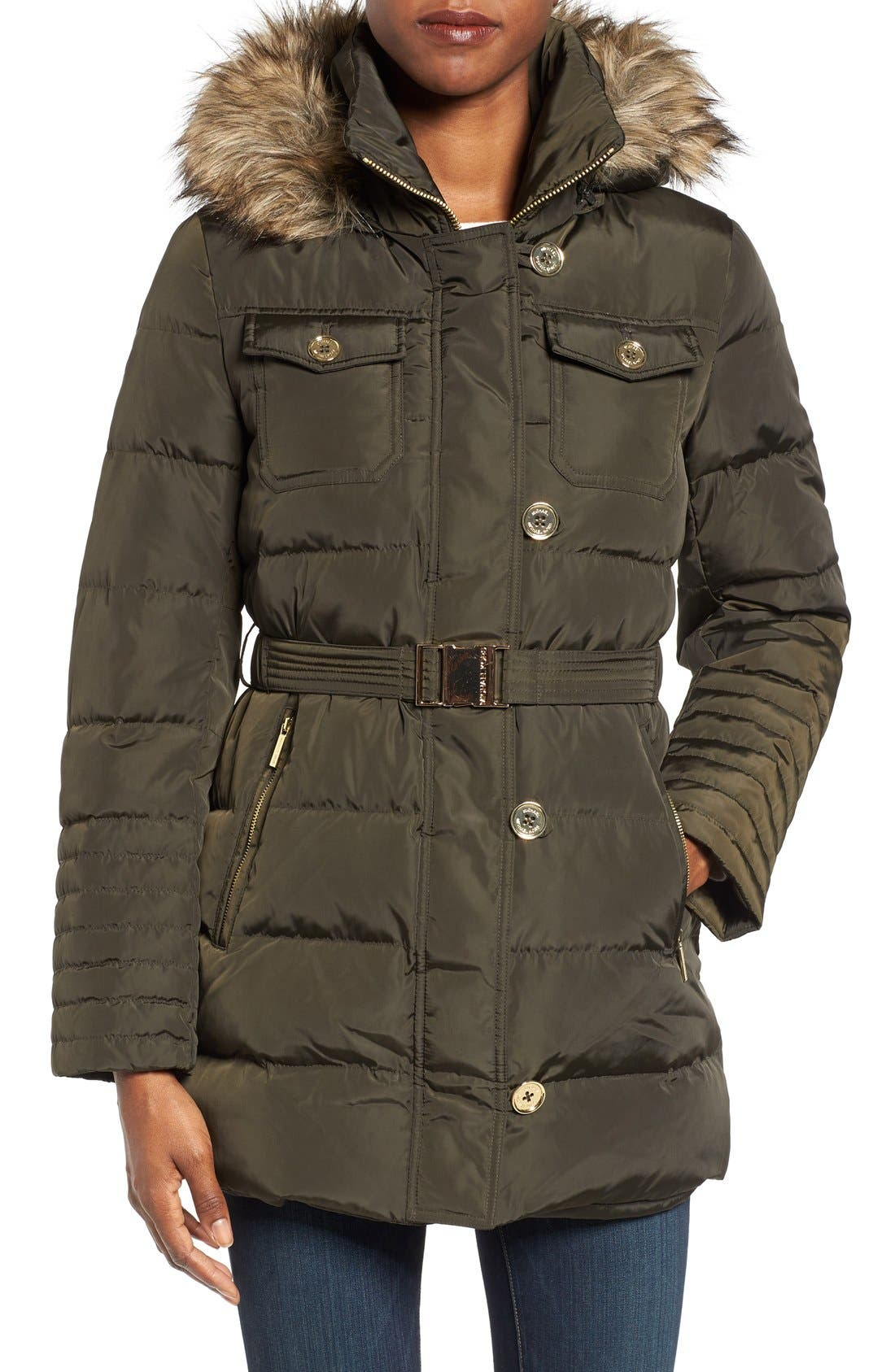 Alternate Image 1 Selected - MICHAEL Michael Kors Faux Fur Trim Belted Down & Feather Fill Coat