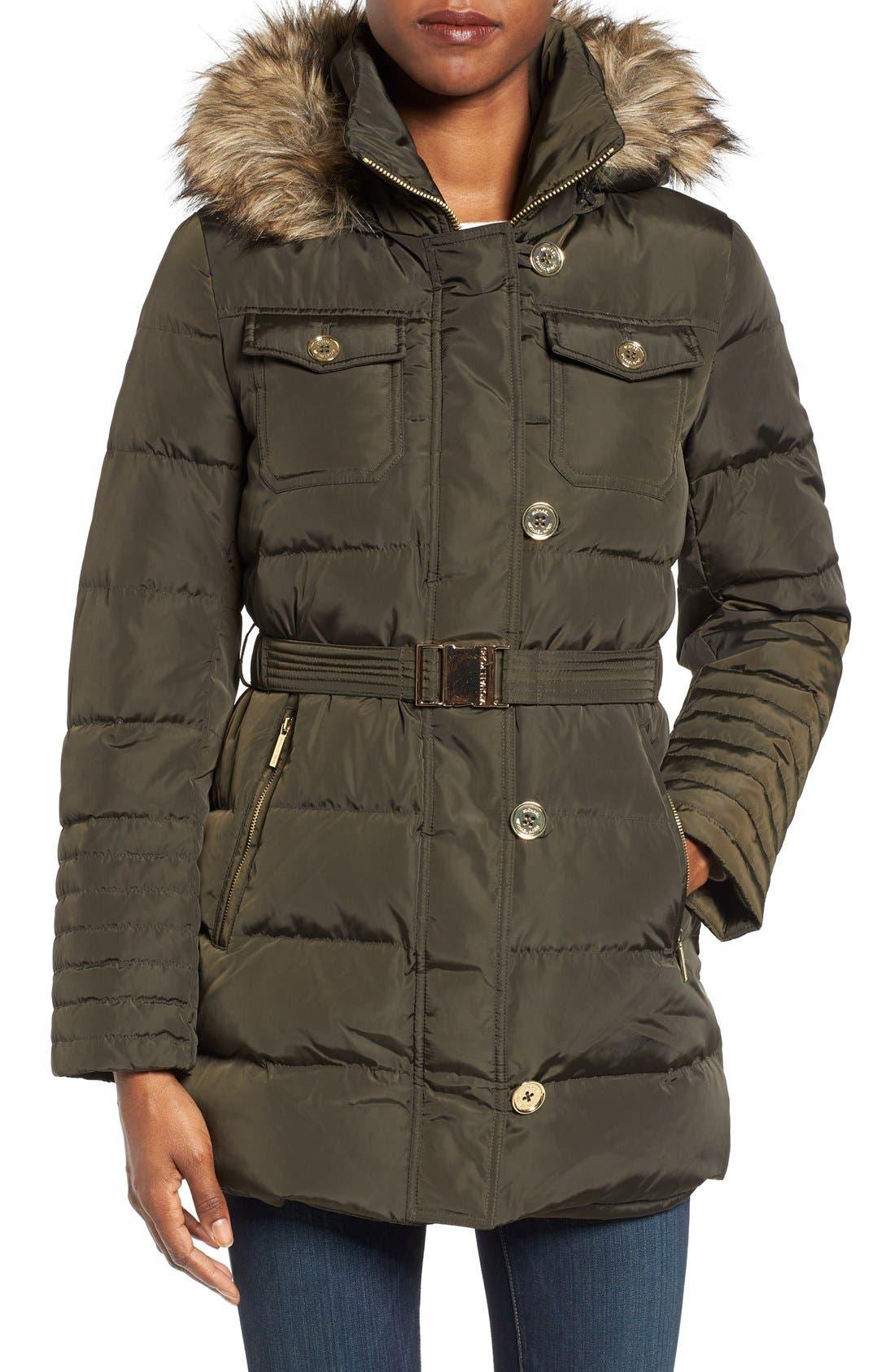 Main Image - MICHAEL Michael Kors Faux Fur Trim Belted Down & Feather Fill Coat