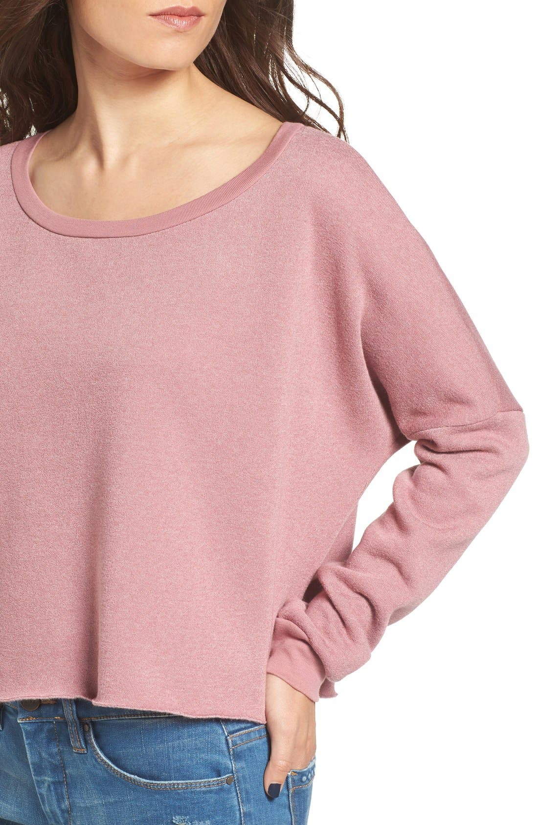 Alternate Image 4  - Project Social T Raw Edge Crop Sweatshirt