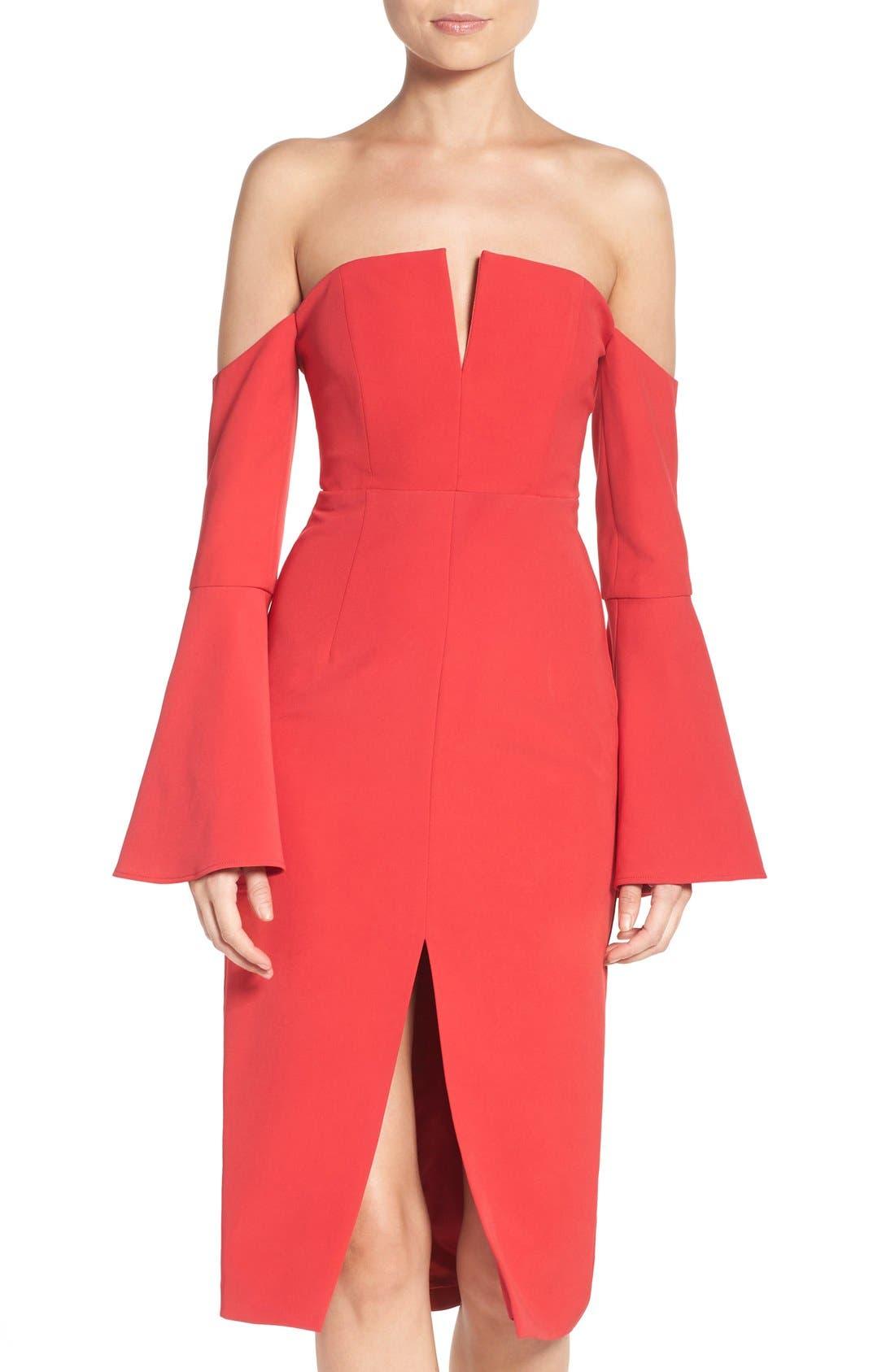 Jasmine Off the Shoulder Sheath Dress,                         Main,                         color, Red