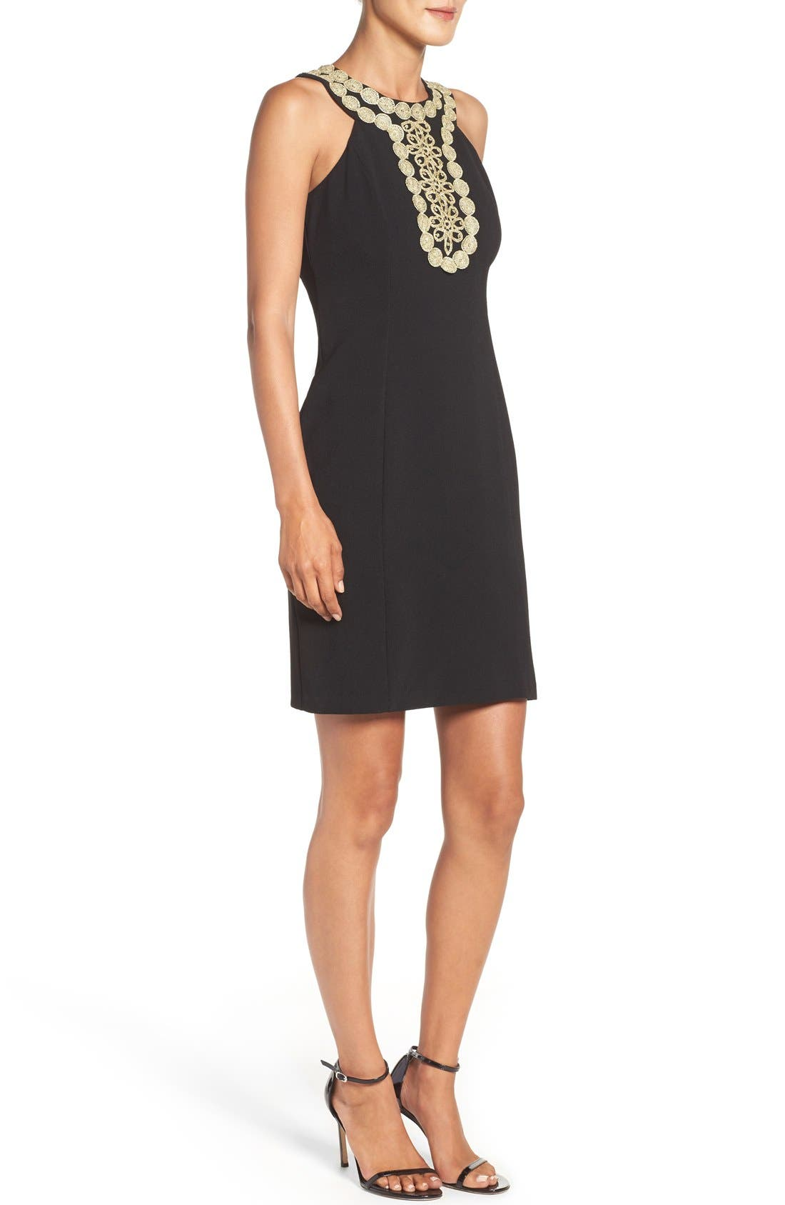 Stretch Sheath Dress,                             Alternate thumbnail 3, color,                             Black