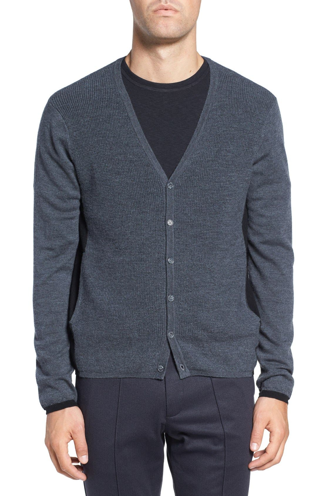 Colorblock Wool Button Cardigan,                             Main thumbnail 1, color,                             Charcoal