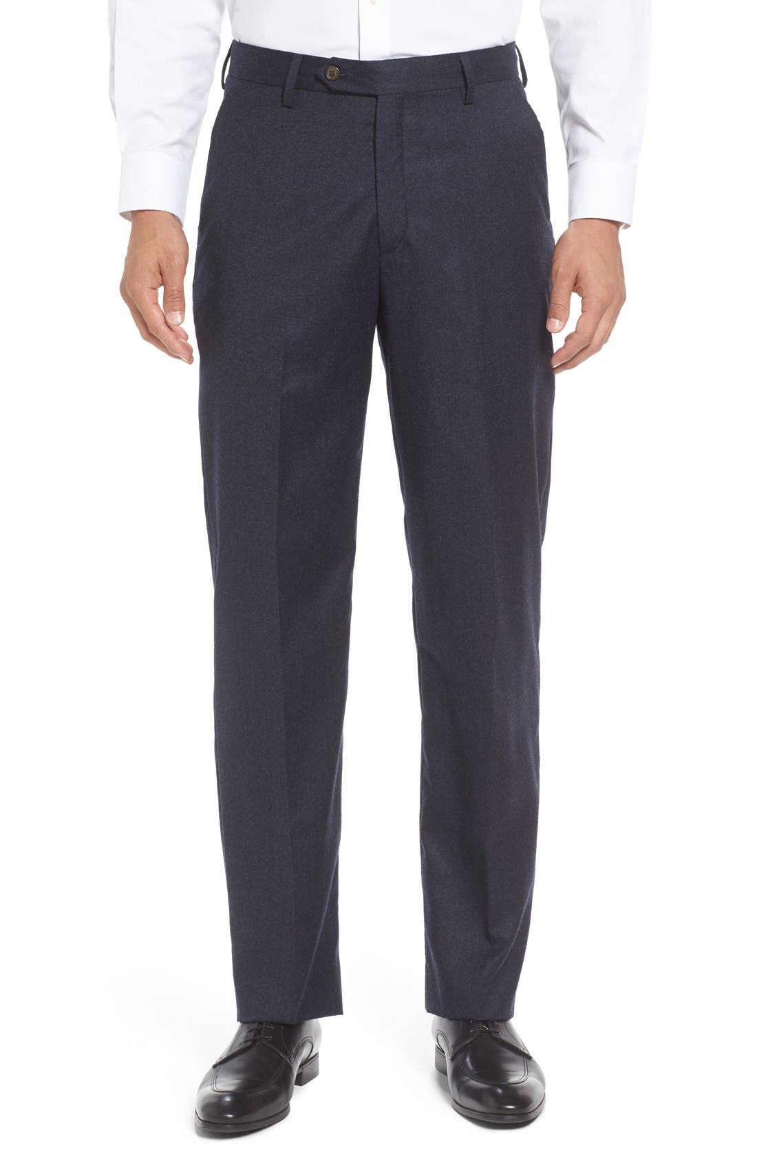 Flat Front Solid Wool Trousers,                             Main thumbnail 1, color,                             Heather Navy
