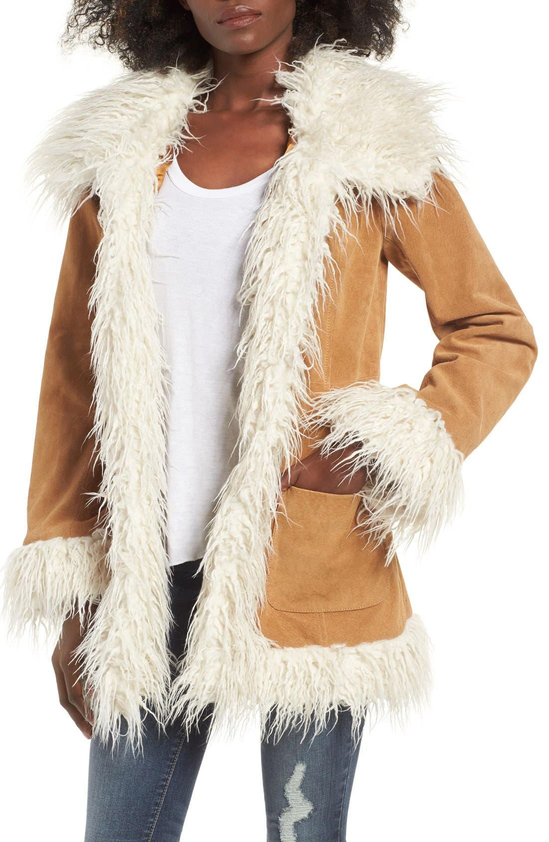 Main Image - Sun & Shadow Suede Jacket with Faux Shearling Trim