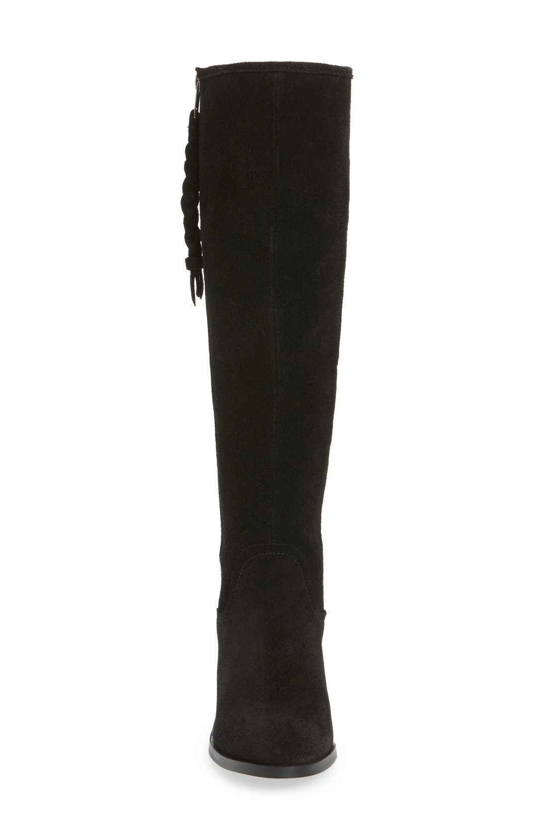 Lasso Boot,                             Alternate thumbnail 3, color,                             Black Suede