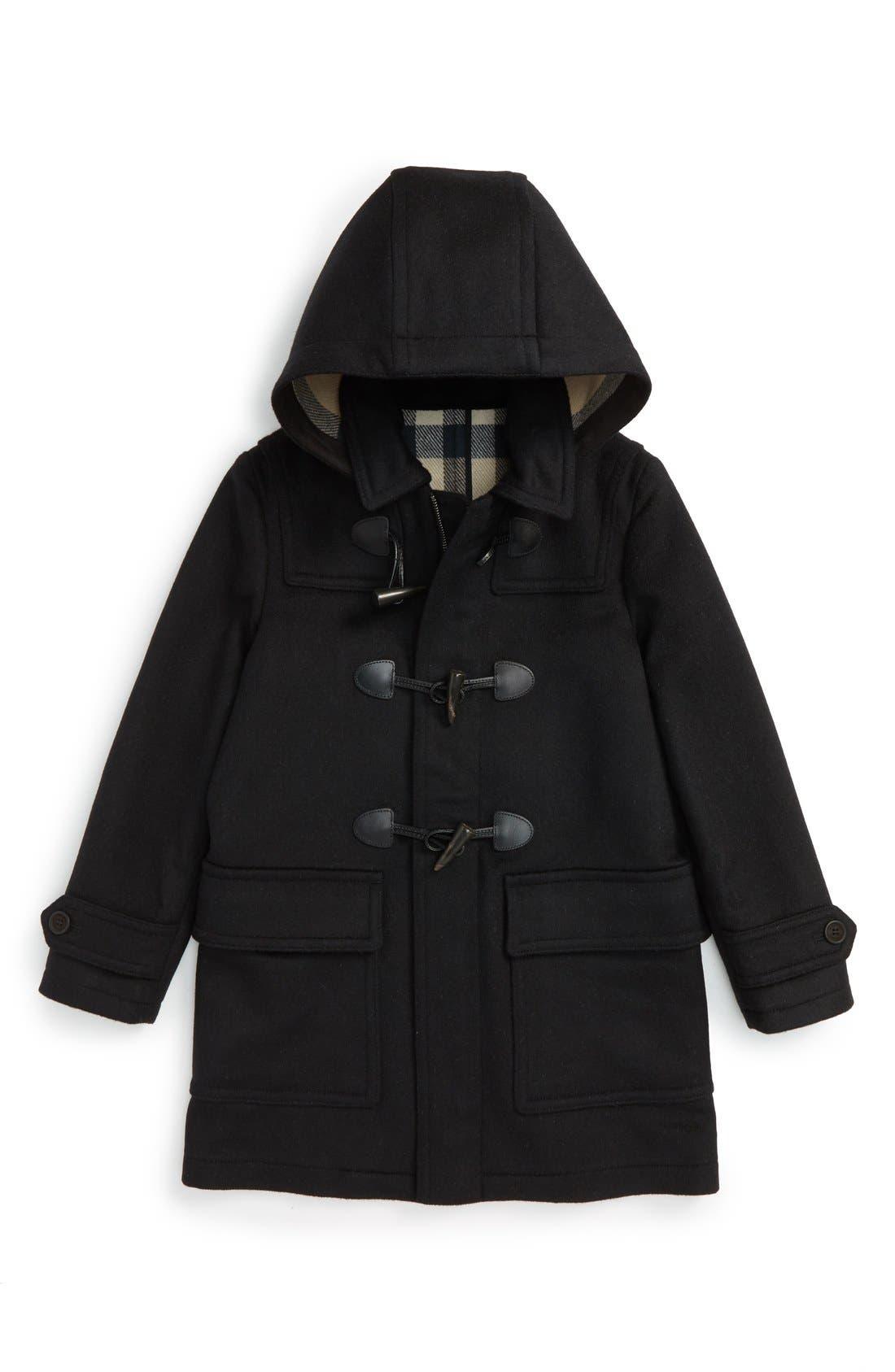 Burwood Wool Toggle Coat,                             Main thumbnail 1, color,                             Black