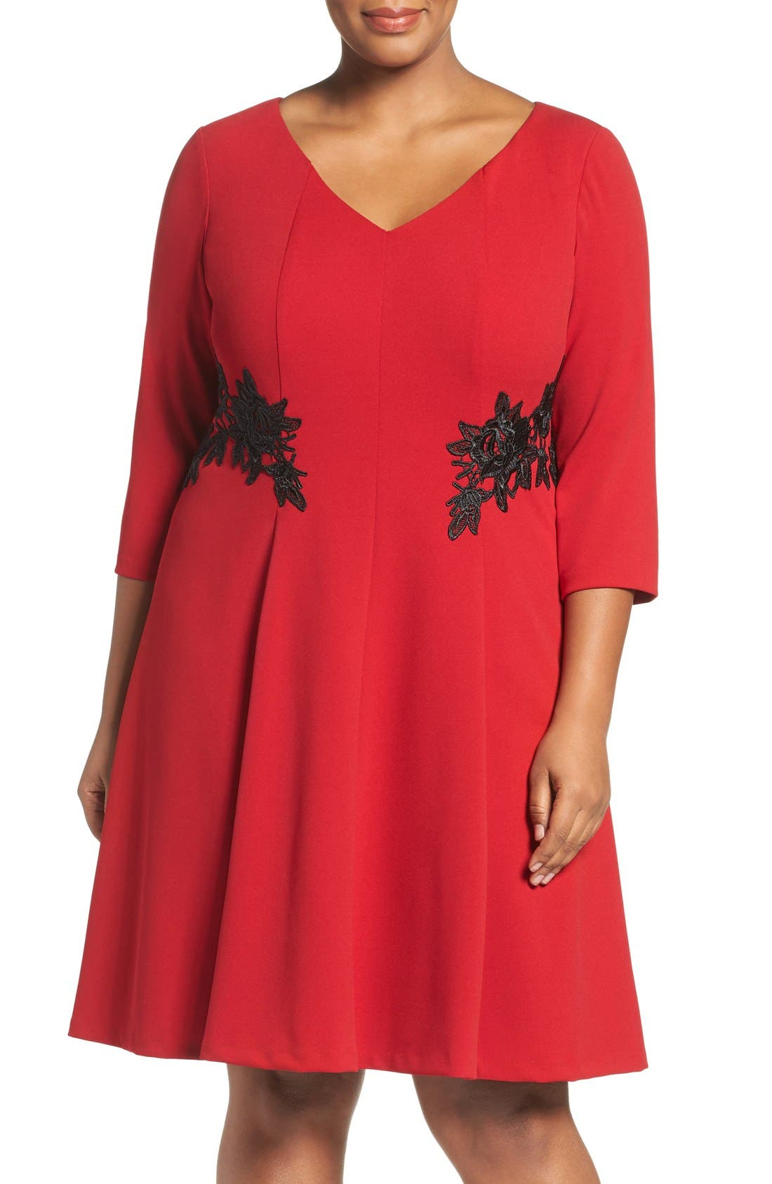Lace Trim Fit & Flare Dress,                         Main,                         color, Red