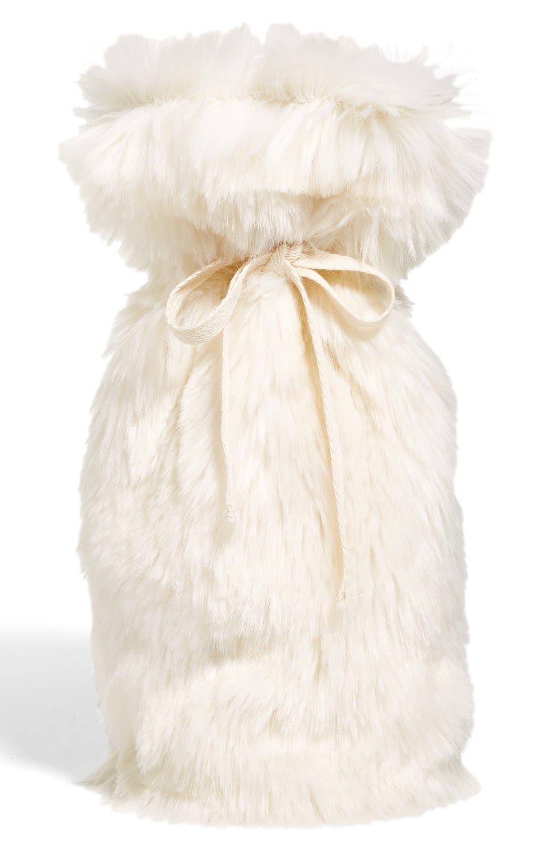 Cuddle Up Faux Fur Wine Bag,                         Main,                         color, Ivory