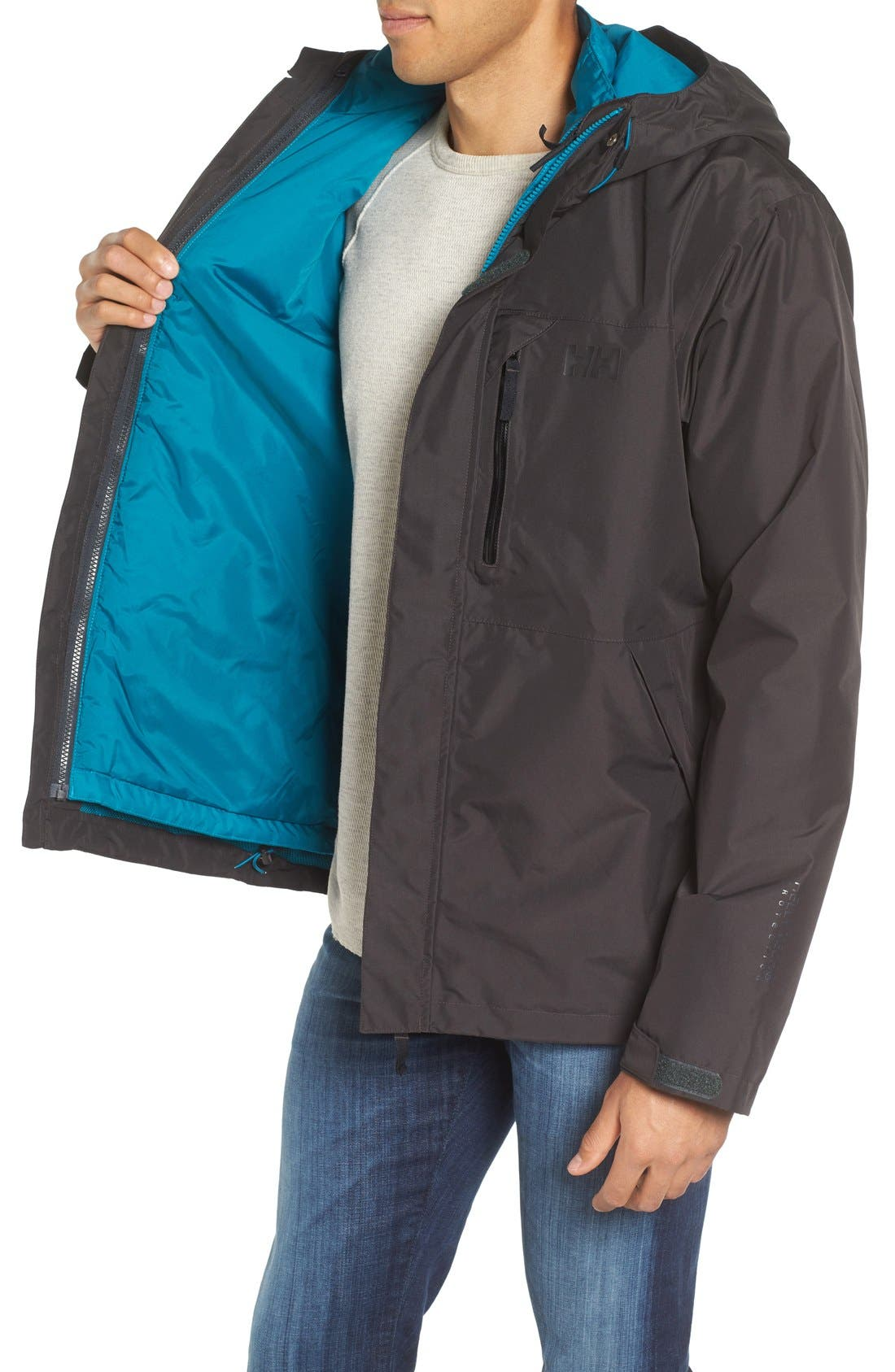 Squamish 3-in-1 Water Repellent Hooded Jacket,                             Alternate thumbnail 3, color,                             Ebony