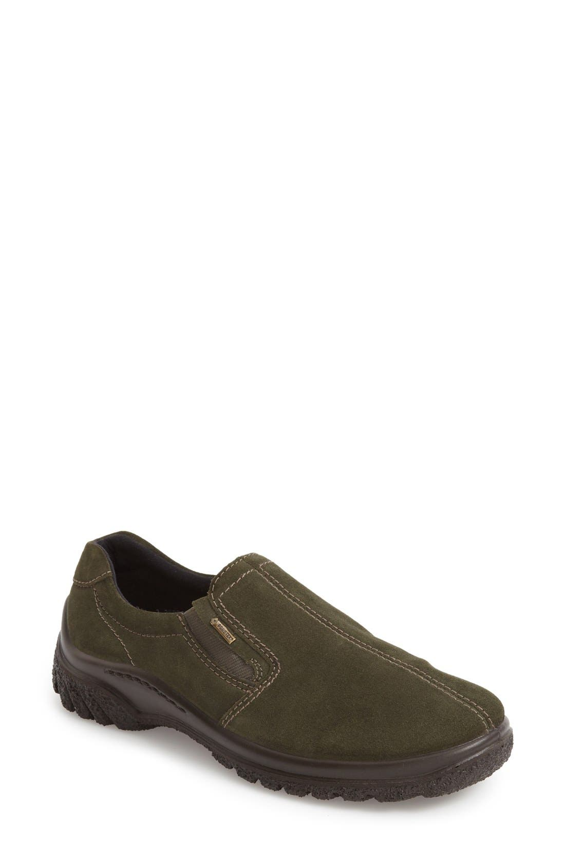 Parson Waterproof Gore-Tex<sup>®</sup> Slip-On Sneaker,                             Main thumbnail 1, color,                             Olive Suede
