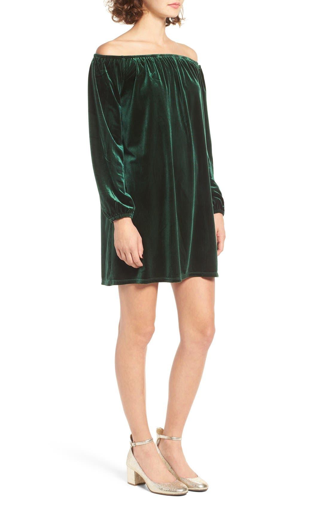 Alternate Image 3  - One Clothing Off the Shoulder Velvet Swing Dress