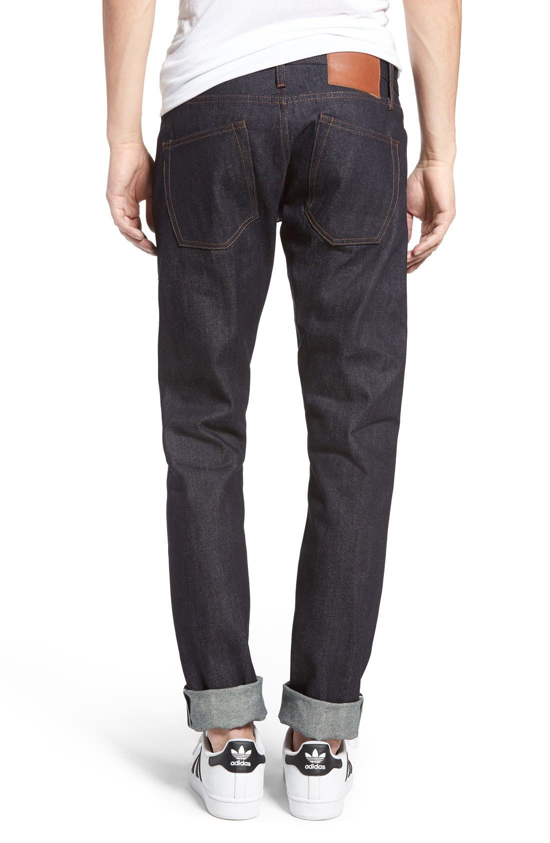Alternate Image 2  - The Unbranded Brand UB401 Selvedge Skinny Fit Jeans
