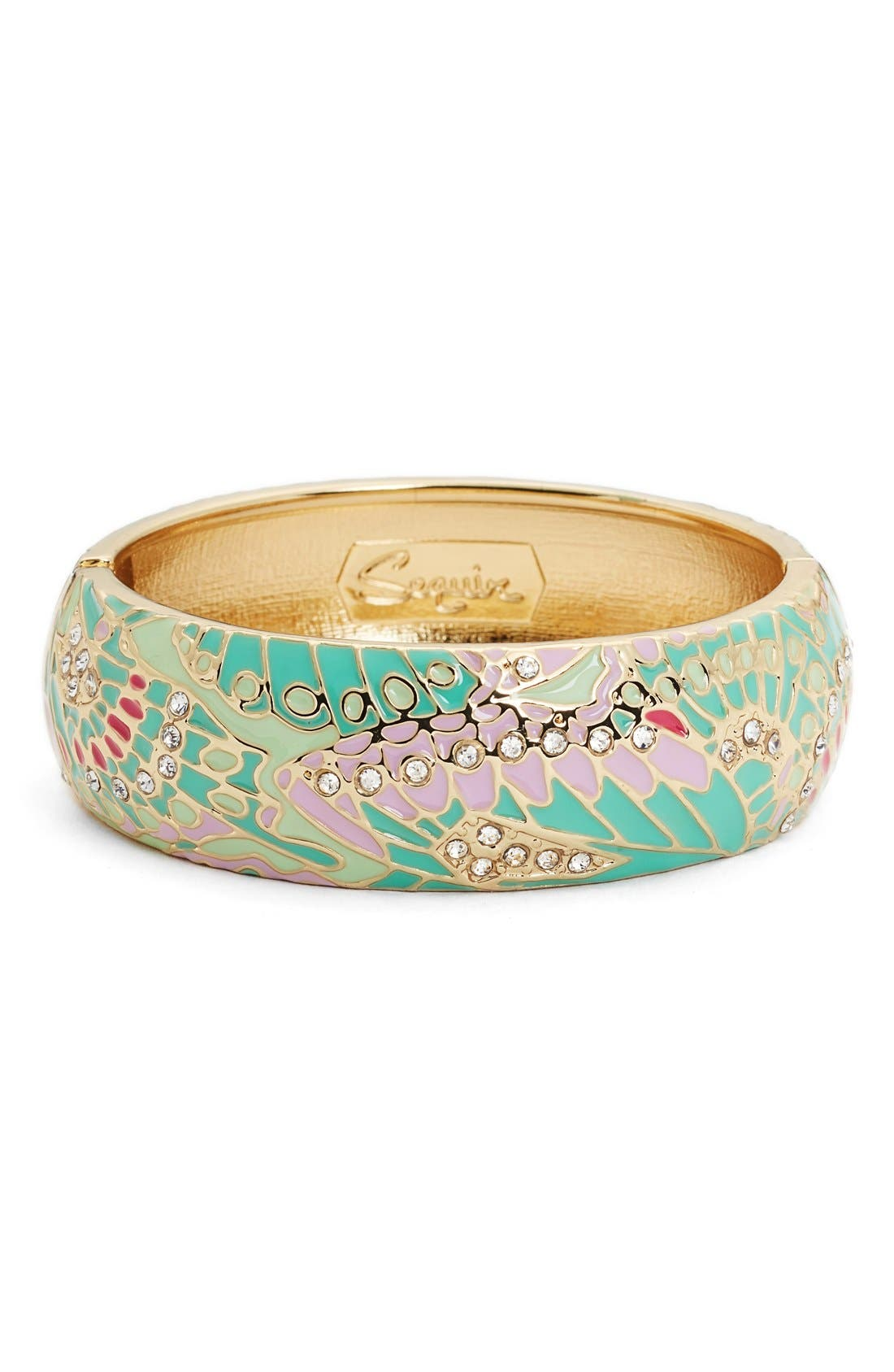 SEQUIN Mariposa Wide Bangle in Mint