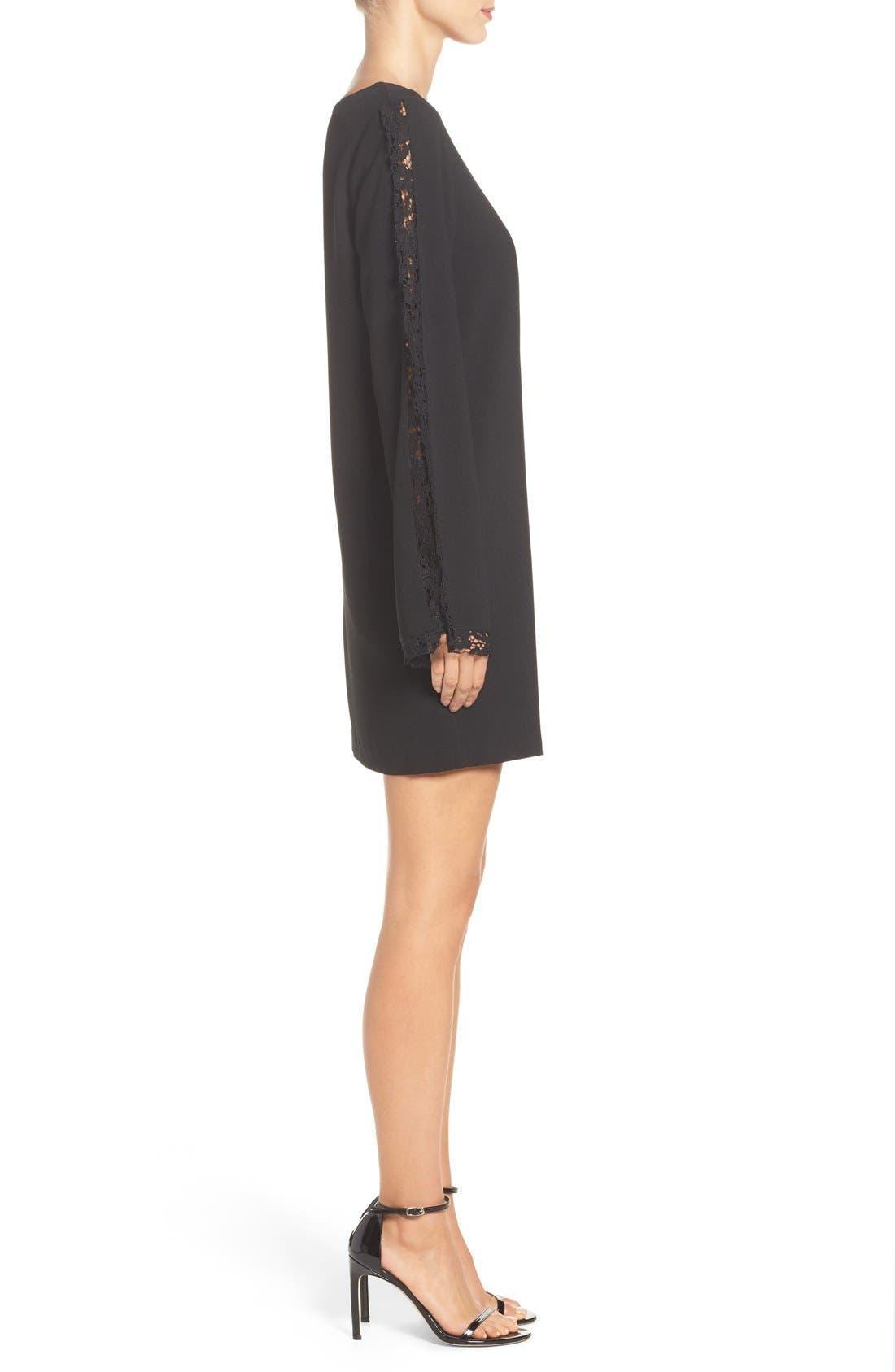 Lacey Bell Sleeve Shift Dress,                             Alternate thumbnail 3, color,                             Black