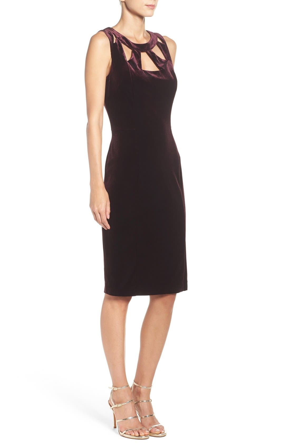 Alternate Image 3  - Eliza J Velvet Cutout Sheath Dress
