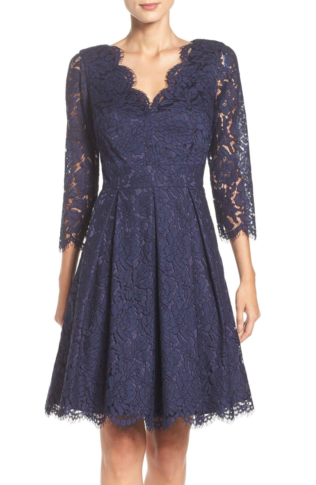 Alternate Image 1 Selected - Eliza J Lace Fit & Flare Dress