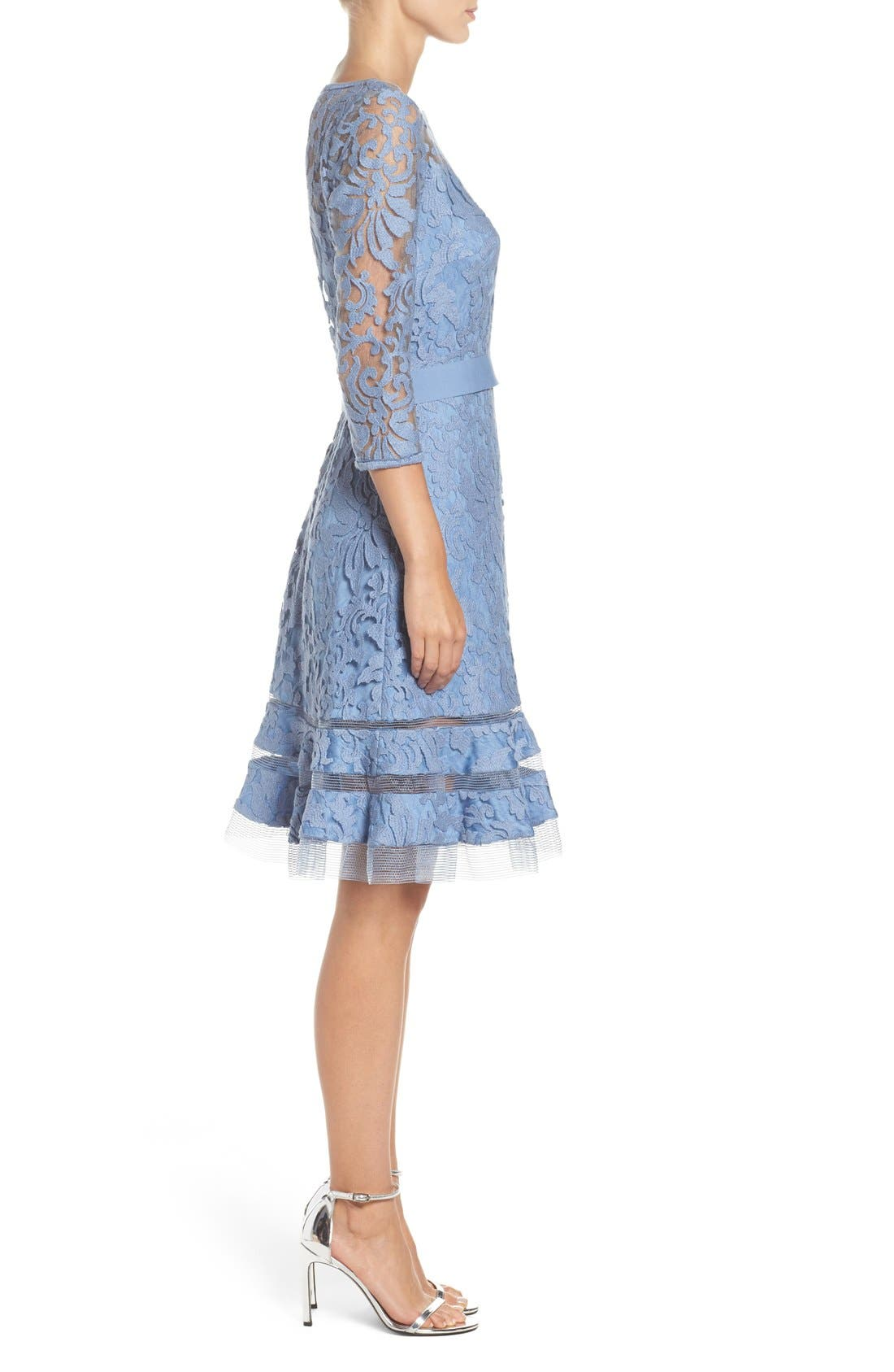 Lace Overlay Dress,                             Alternate thumbnail 3, color,                             Bluestone