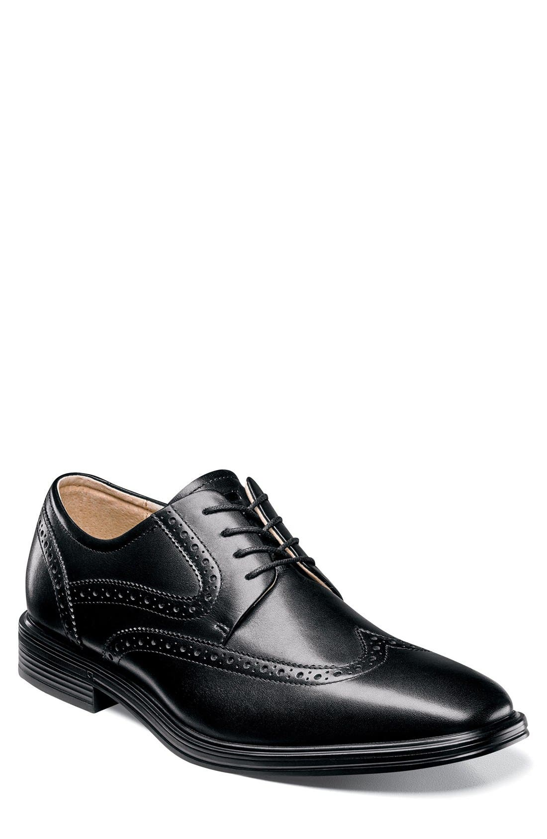Heights Wingtip,                         Main,                         color, Black Leather