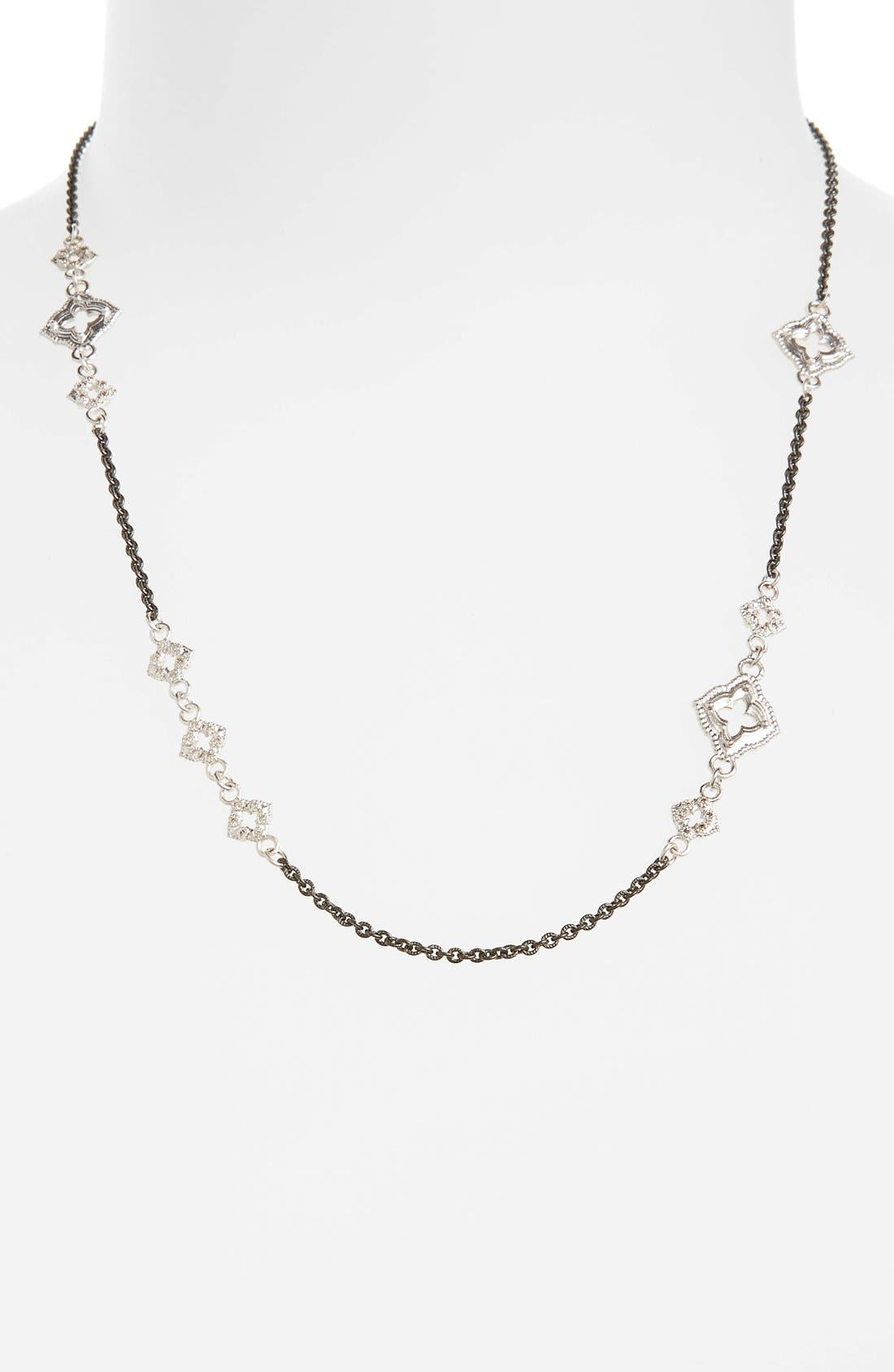 New World Chain Scroll Station Necklace,                             Main thumbnail 1, color,                             Champagne/ Black