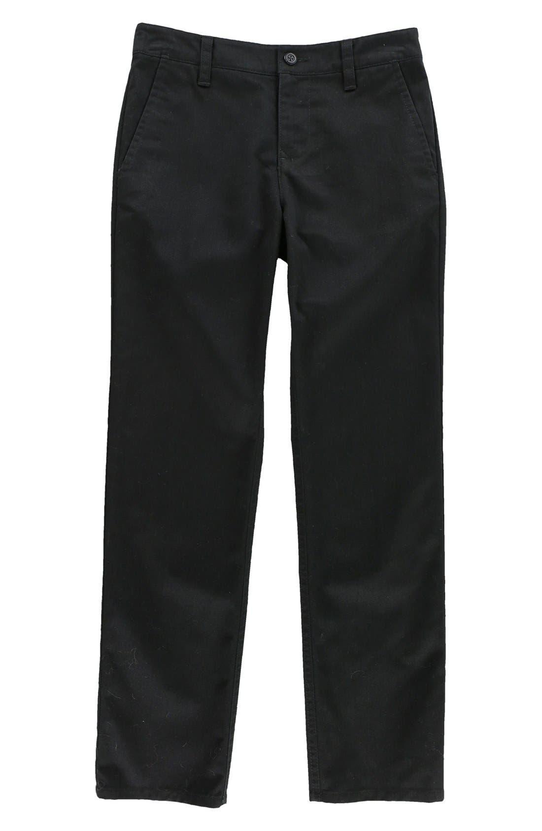 Contact Straight Leg Twill Pants,                         Main,                         color, Black