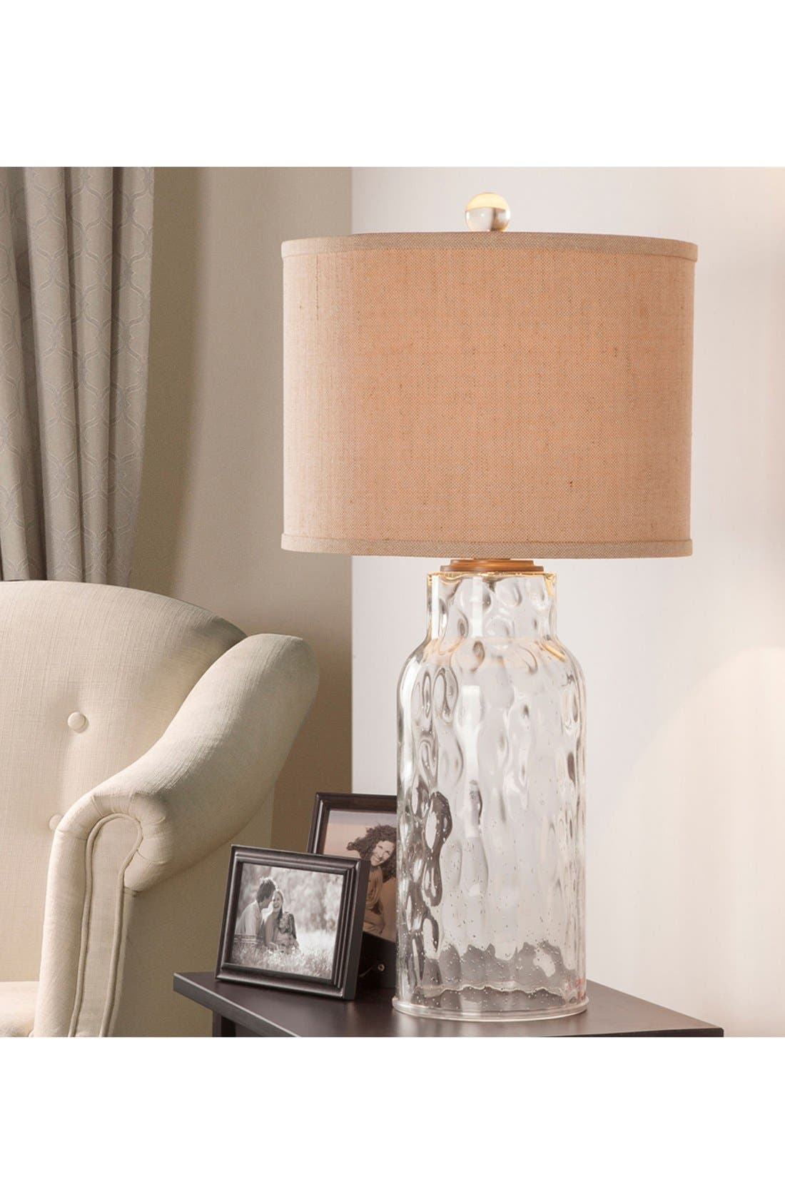 Clear Dimpled Glass Table Lamp,                             Alternate thumbnail 2, color,                             Clear Glass/ Dark Bronze