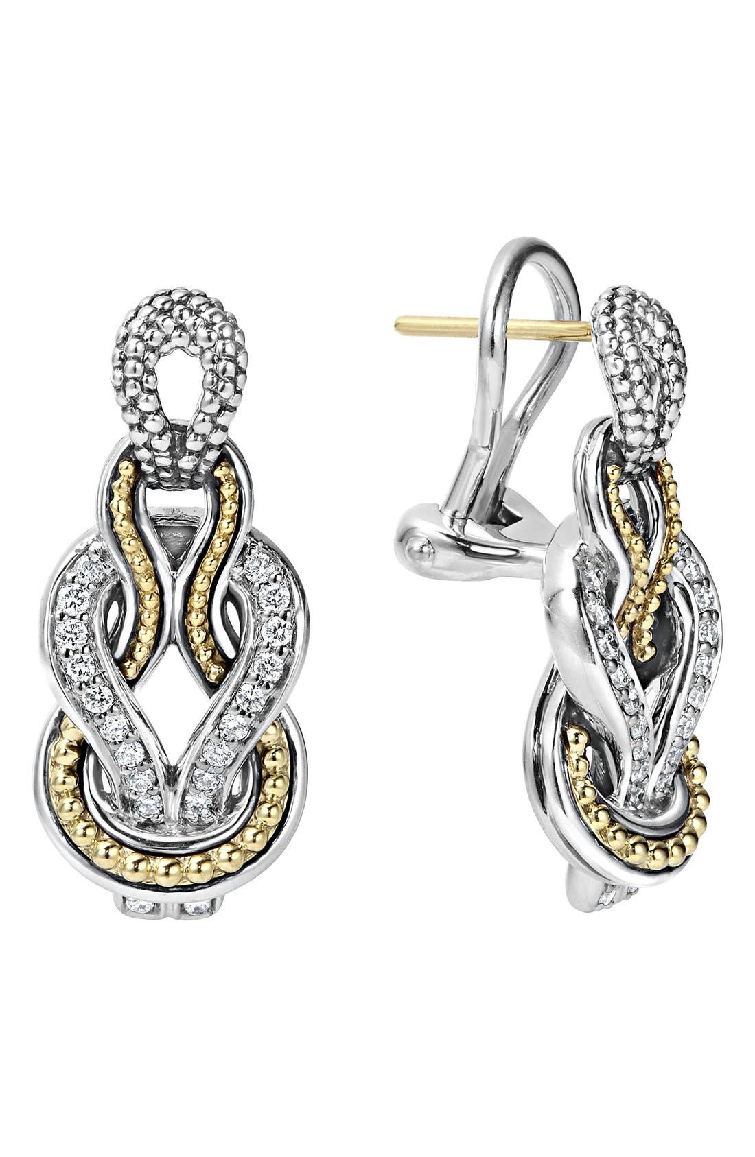 'Newport' Diamond Knot Earrings,                         Main,                         color, Silver/ Gold