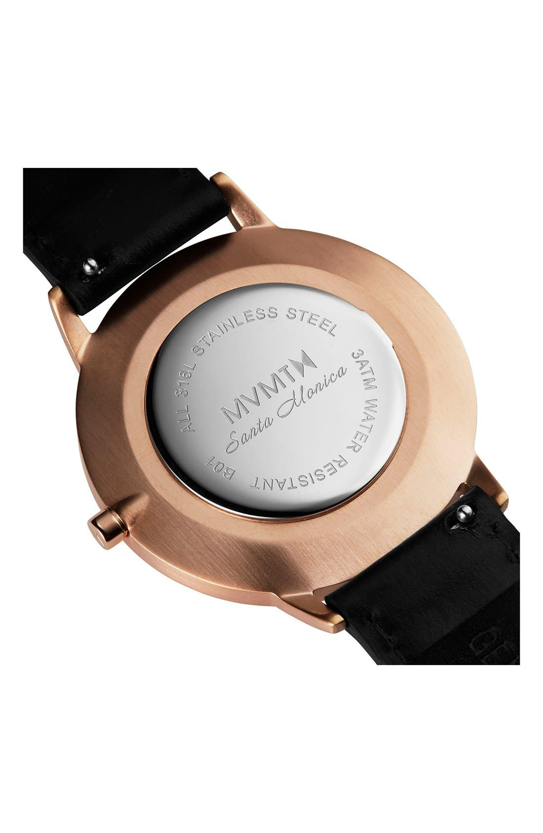 Boulevard Leather Strap Watch, 38mm,                             Alternate thumbnail 3, color,                             Black/ Rose Gold